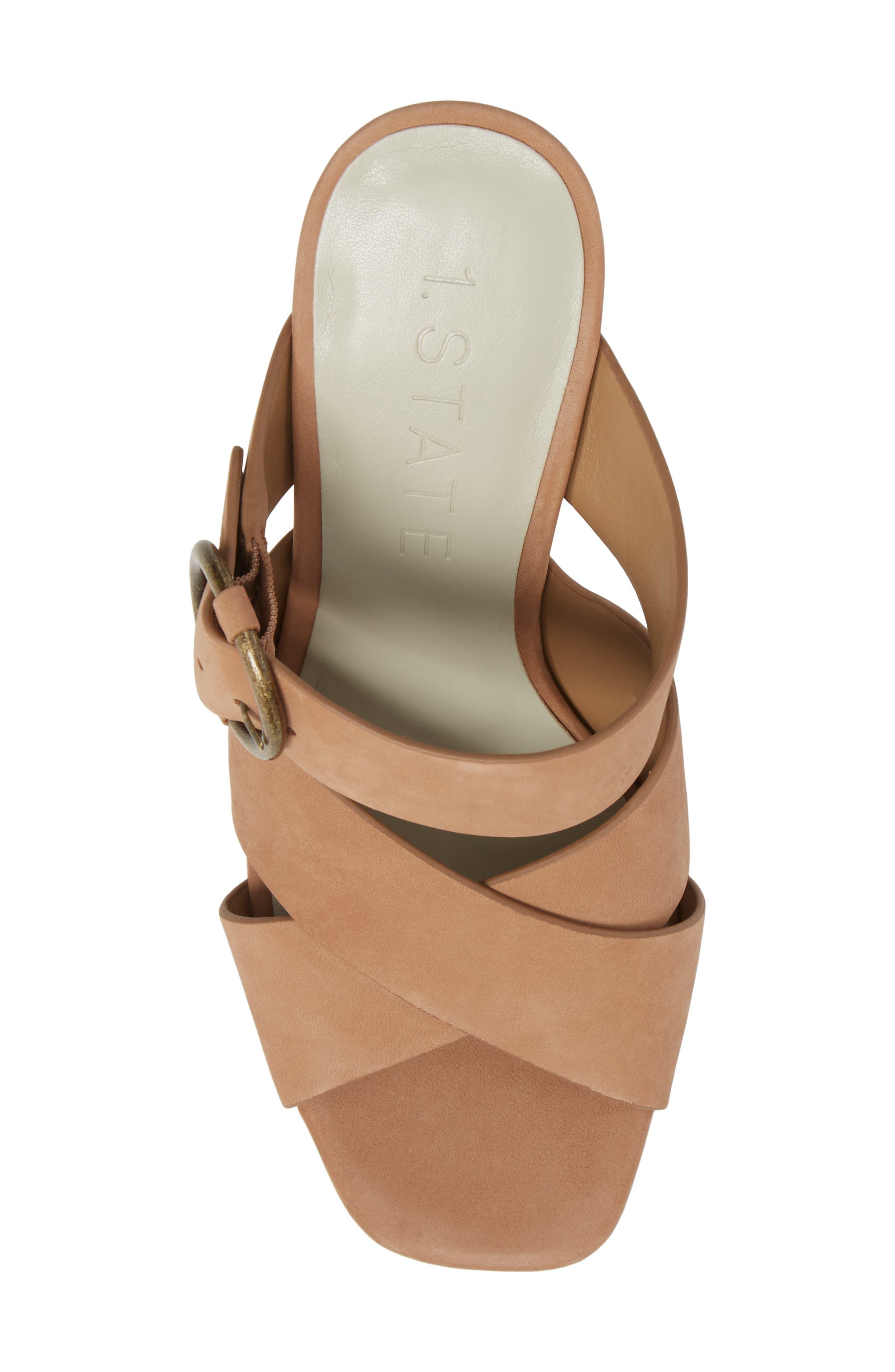 Icendra Flared Heel Mule Sandal,                             Alternate thumbnail 5, color,                             Teak Leather