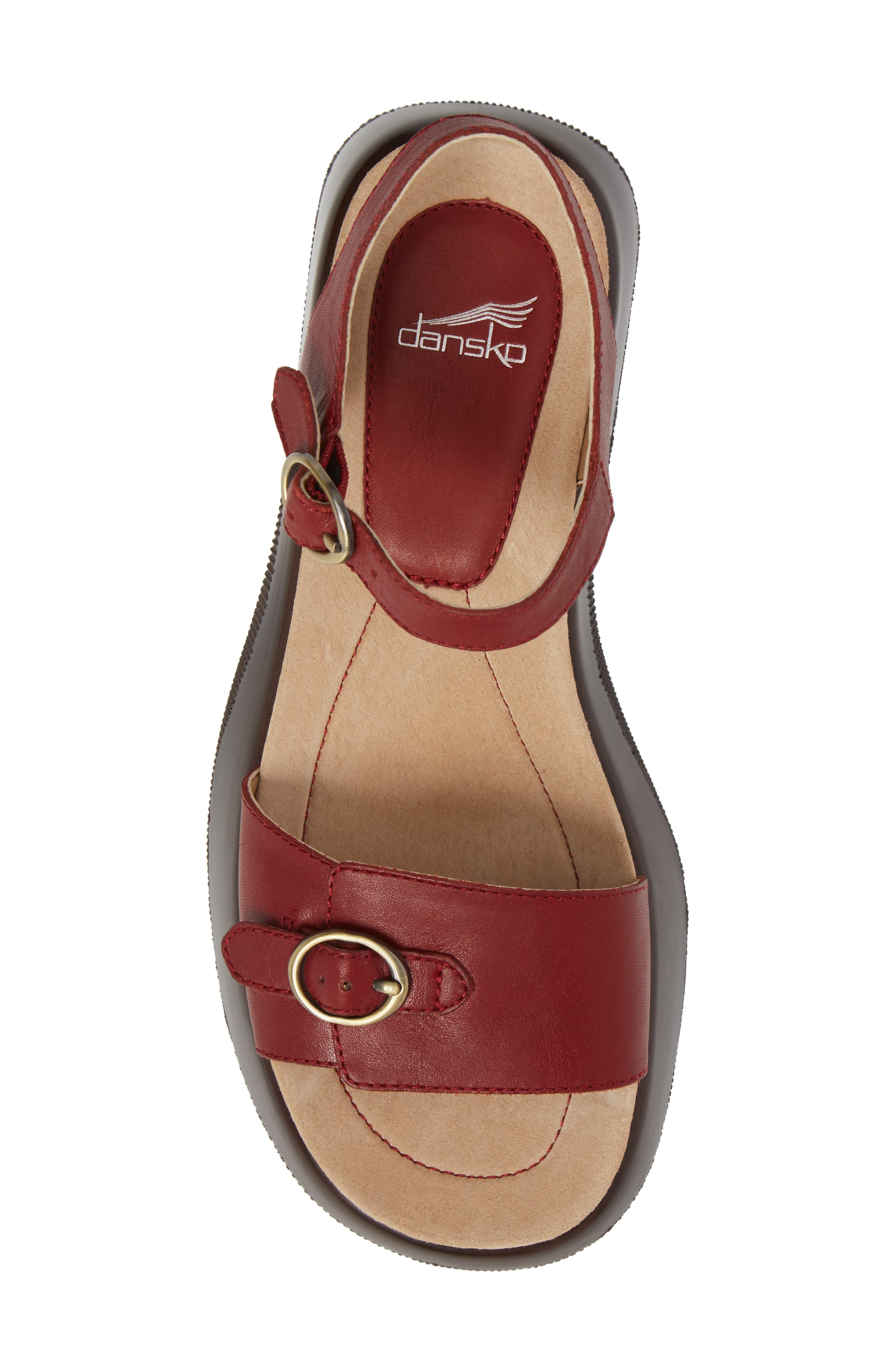 Lynnie Sandal,                             Alternate thumbnail 5, color,                             Red Leather