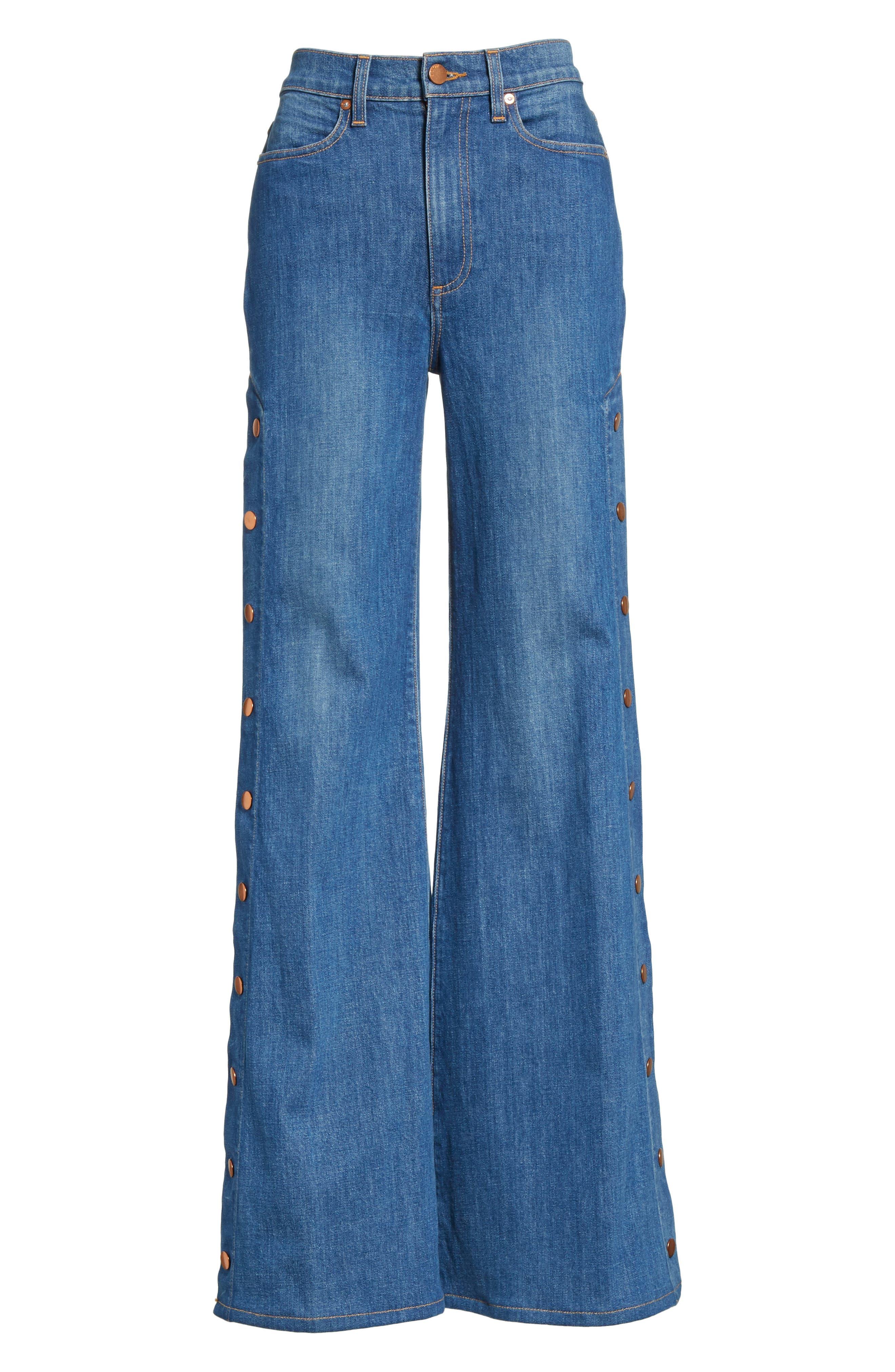 AO.LA Gorgeous Snap Side Flare Leg Jeans,                             Alternate thumbnail 6, color,                             French Blue