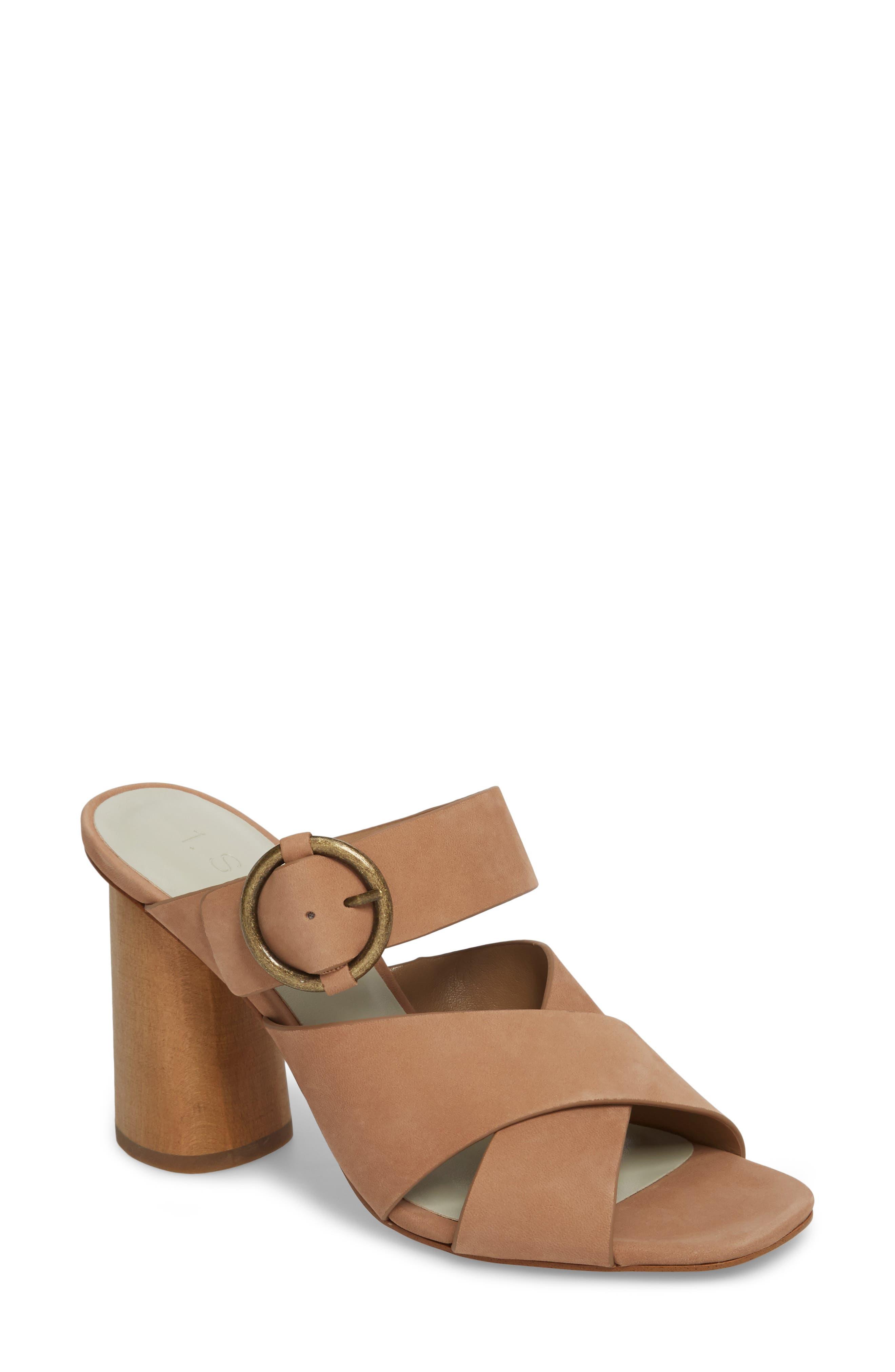 Icendra Flared Heel Mule Sandal,                         Main,                         color, Teak Leather