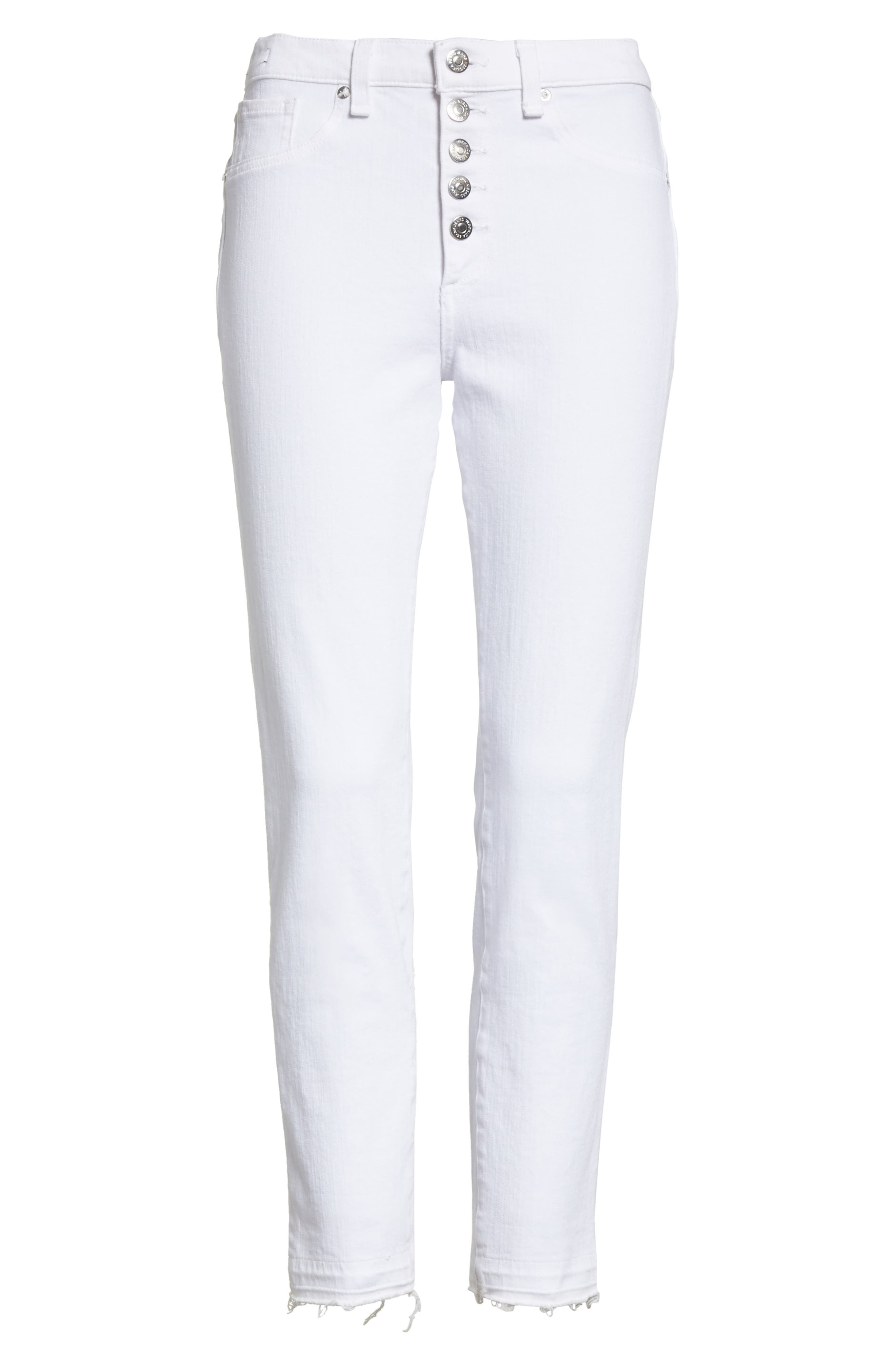 Debbie Frayed Crop Skinny Jeans,                             Alternate thumbnail 6, color,                             White