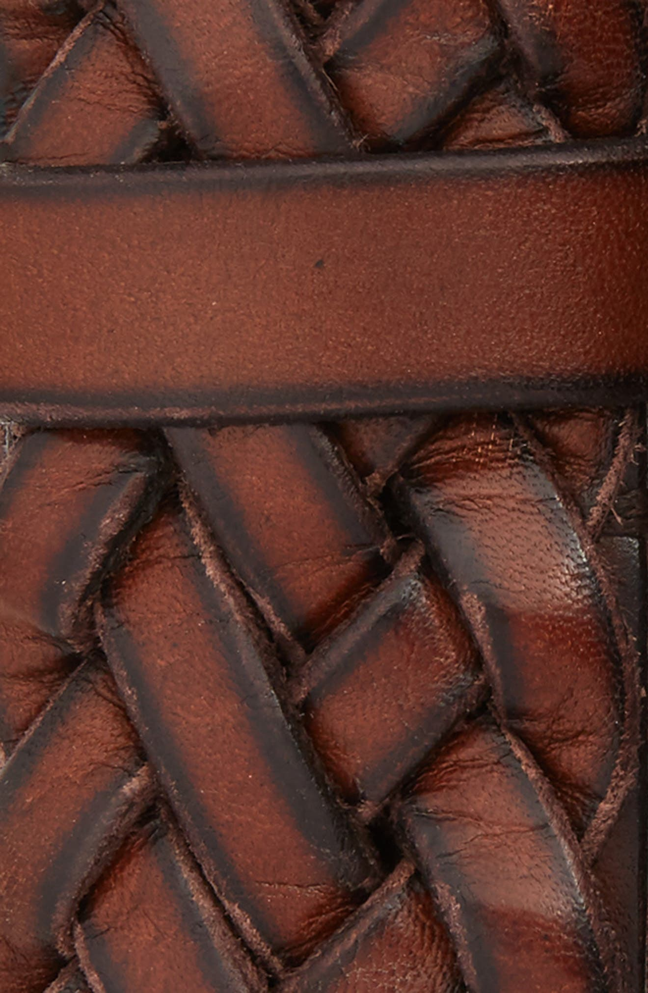 Woven Leather Belt,                             Alternate thumbnail 2, color,                             Brown