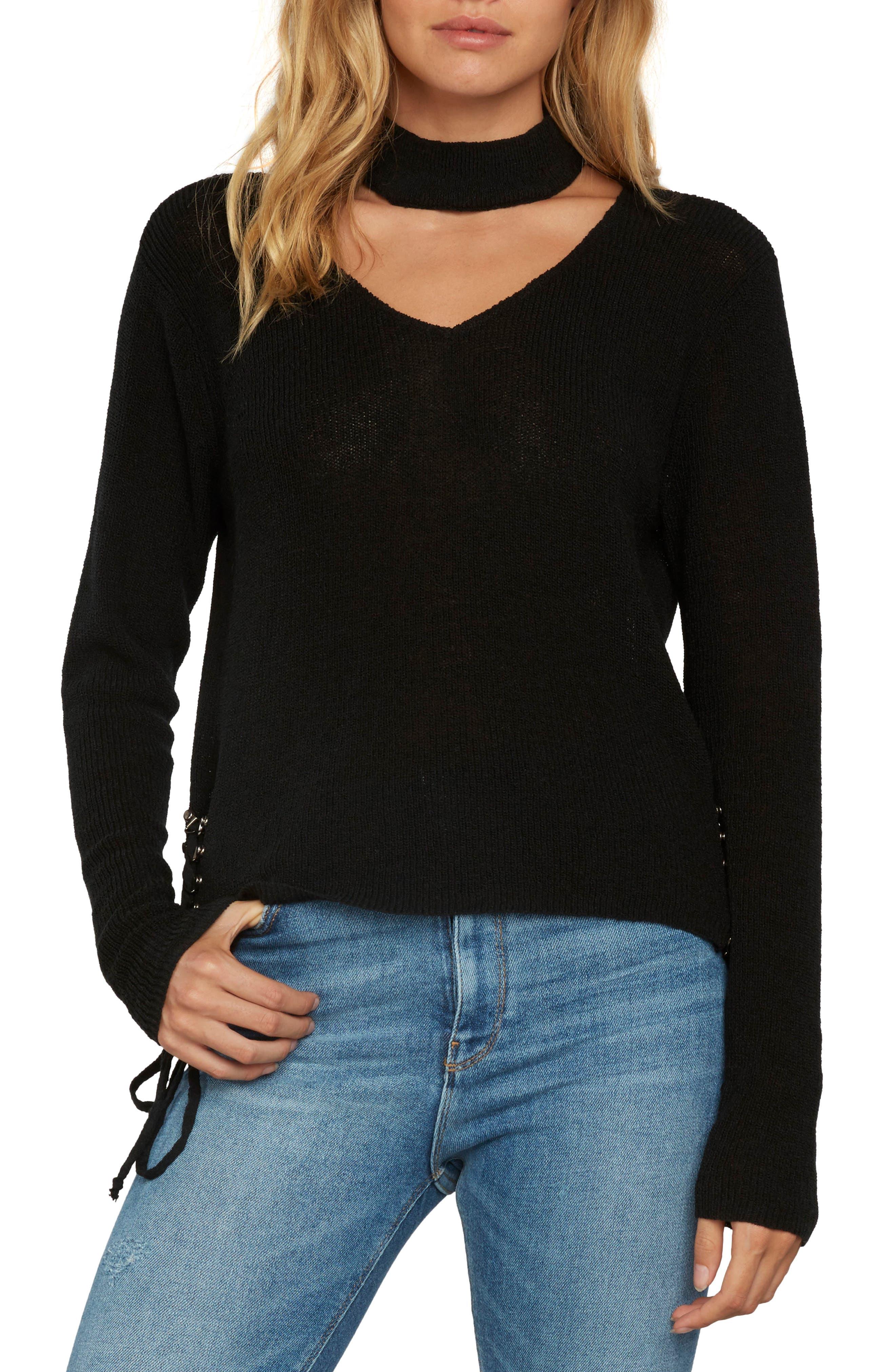 Choker Sweater,                             Main thumbnail 1, color,                             Black