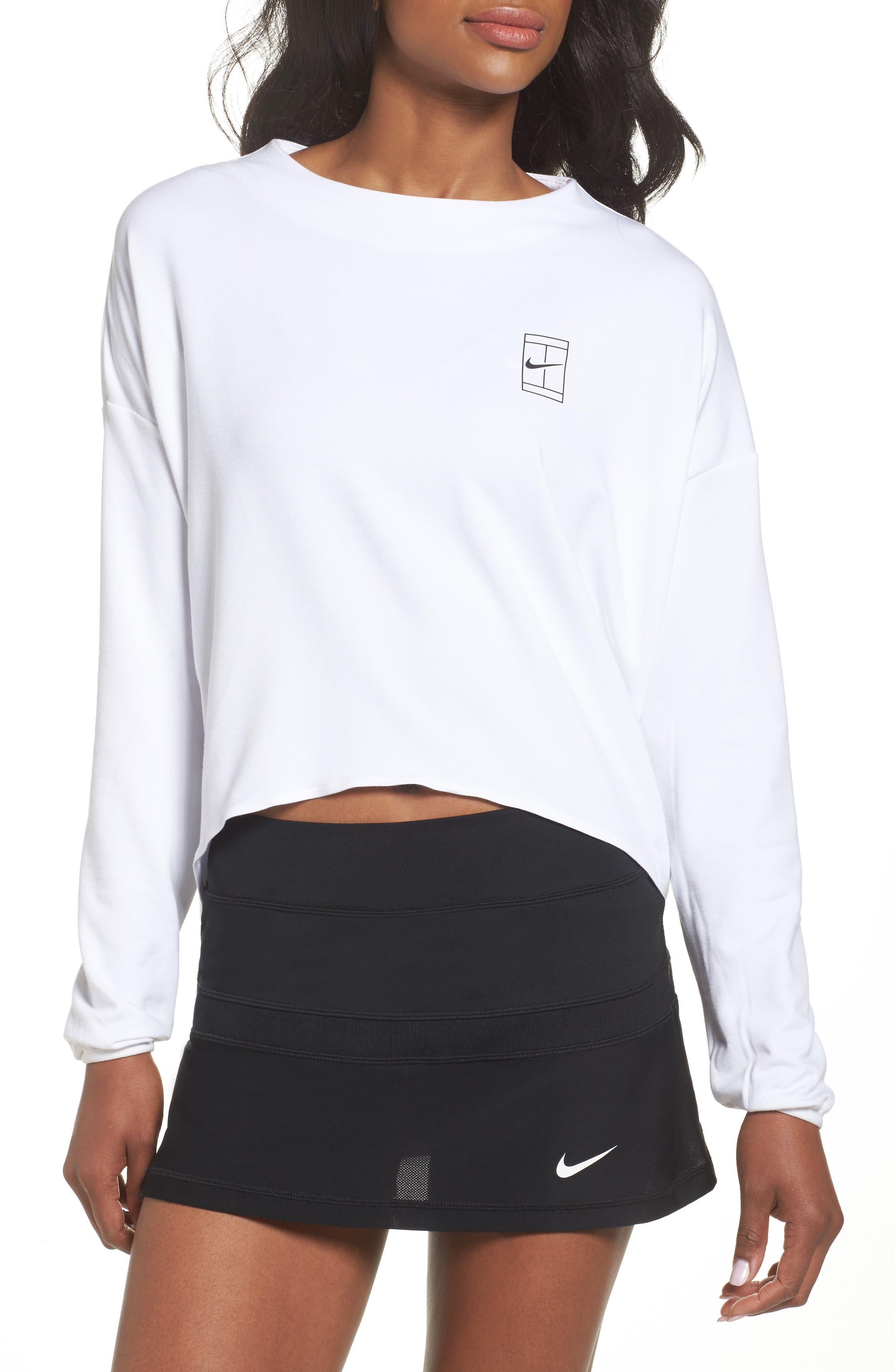 Court Dri-FIT Long Sleeve Tennis Top,                         Main,                         color, White/ White/ Black