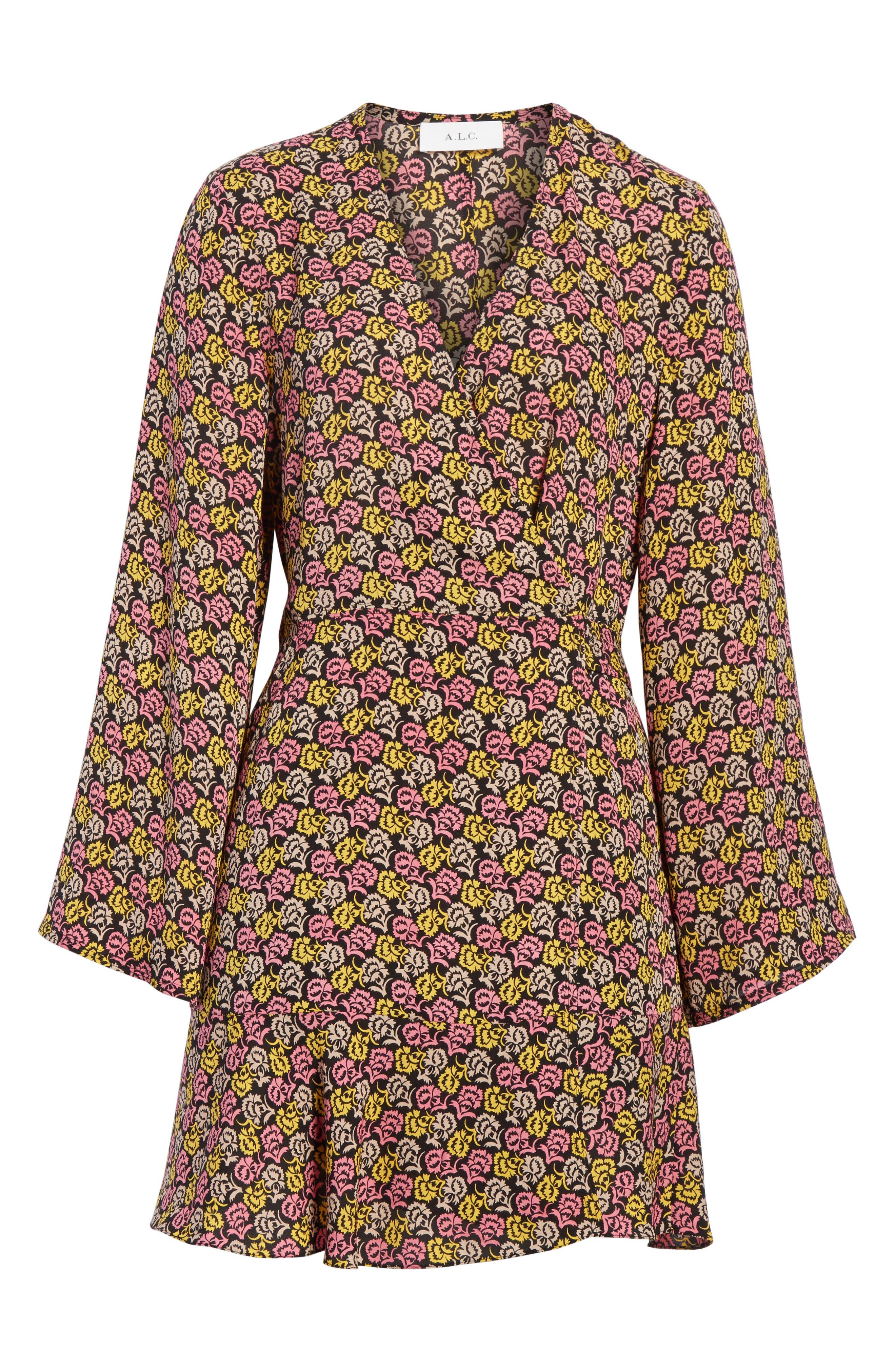 Whitney Bell Sleeve Silk Wrap Dress,                             Alternate thumbnail 6, color,                             Pink Multi