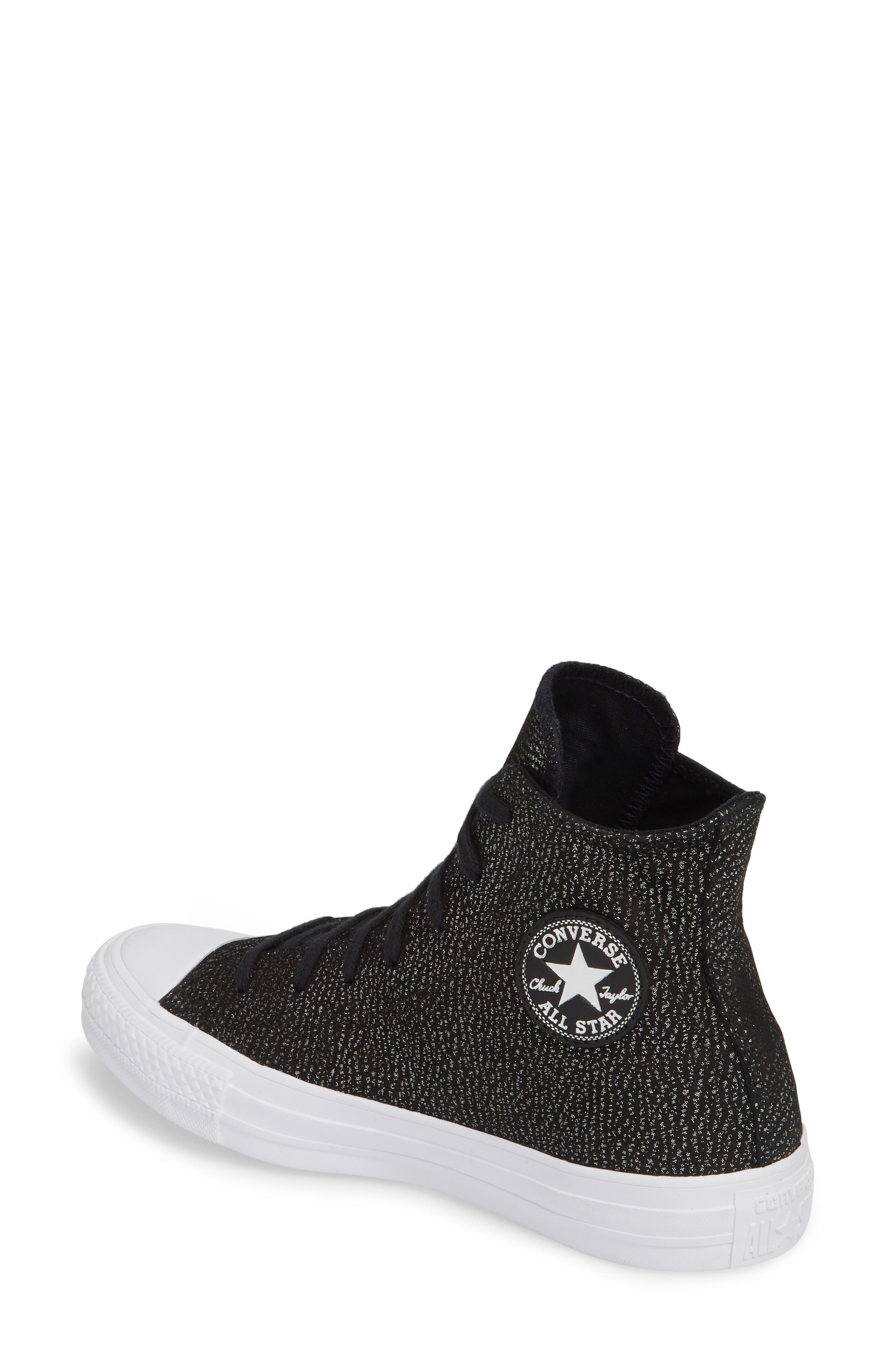 Chuck Taylor<sup>®</sup> All Star<sup>®</sup> Tipped Metallic High Top Sneaker,                             Alternate thumbnail 2, color,                             Black