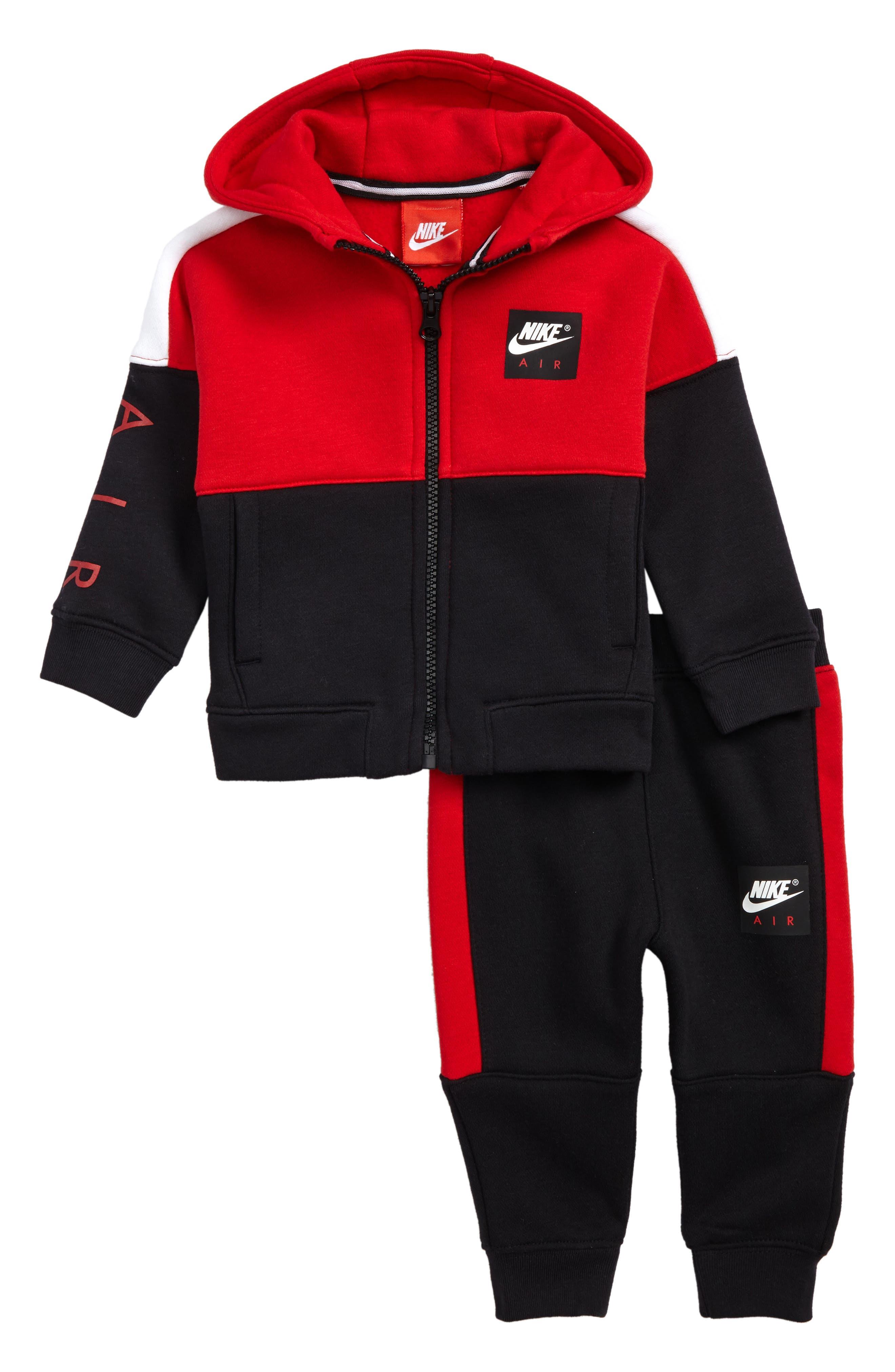 Air Fleece Hoodie & Jogger Pants Set,                         Main,                         color, University Red