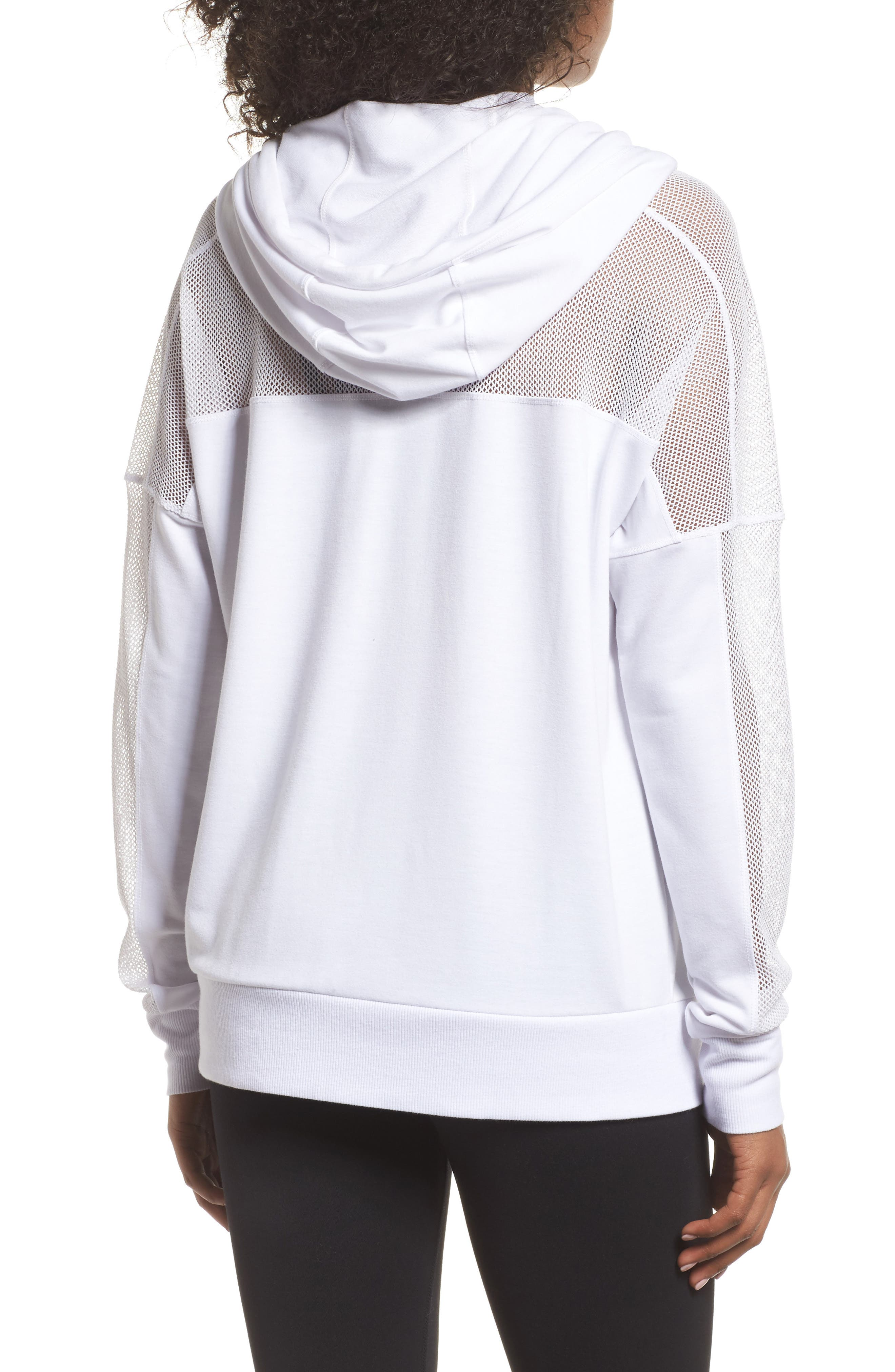 Mesh Sleeve Hoodie,                             Alternate thumbnail 2, color,                             White