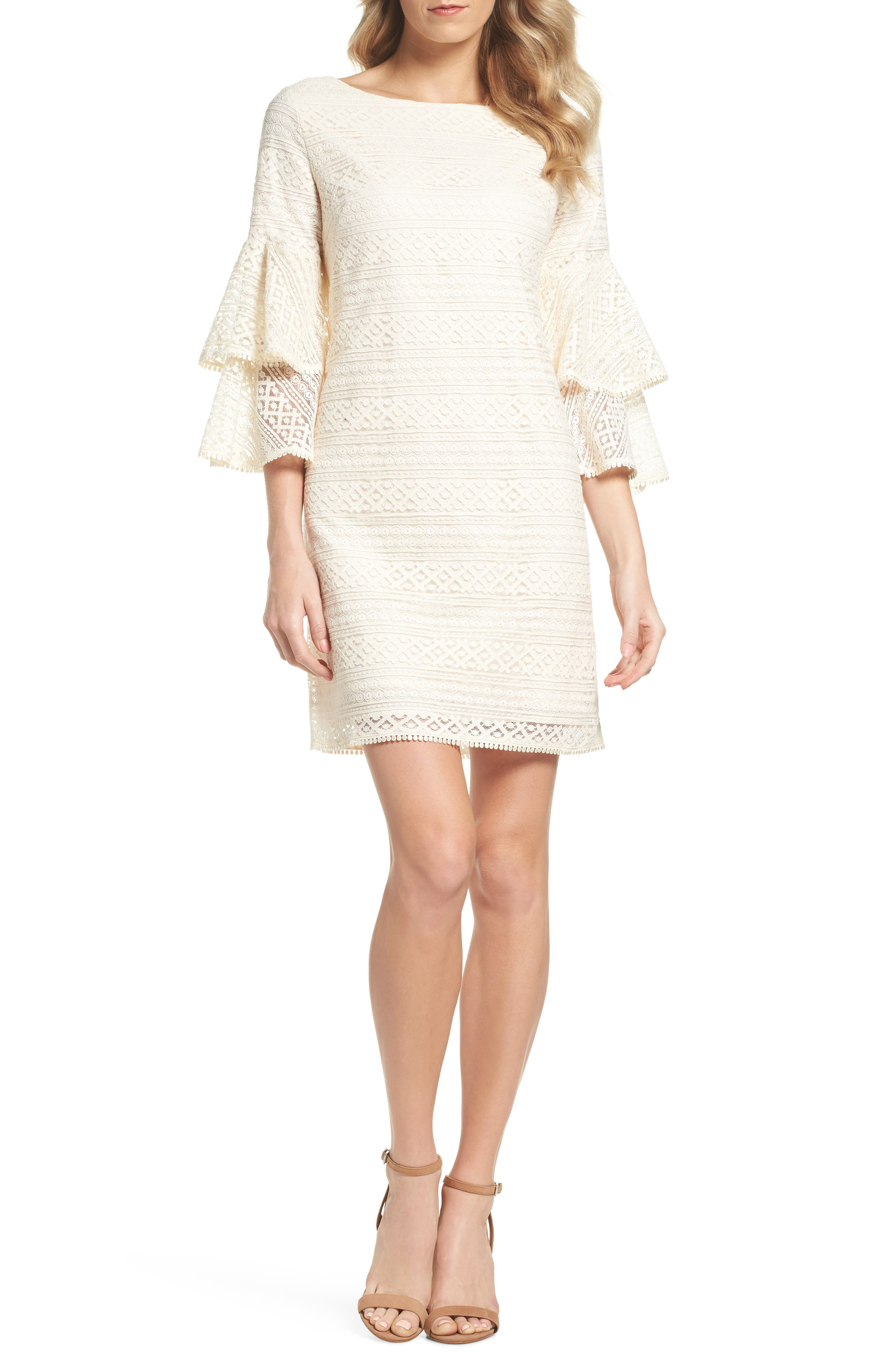 Bell Sleeve Lace Shift Dress,                         Main,                         color, Ivory
