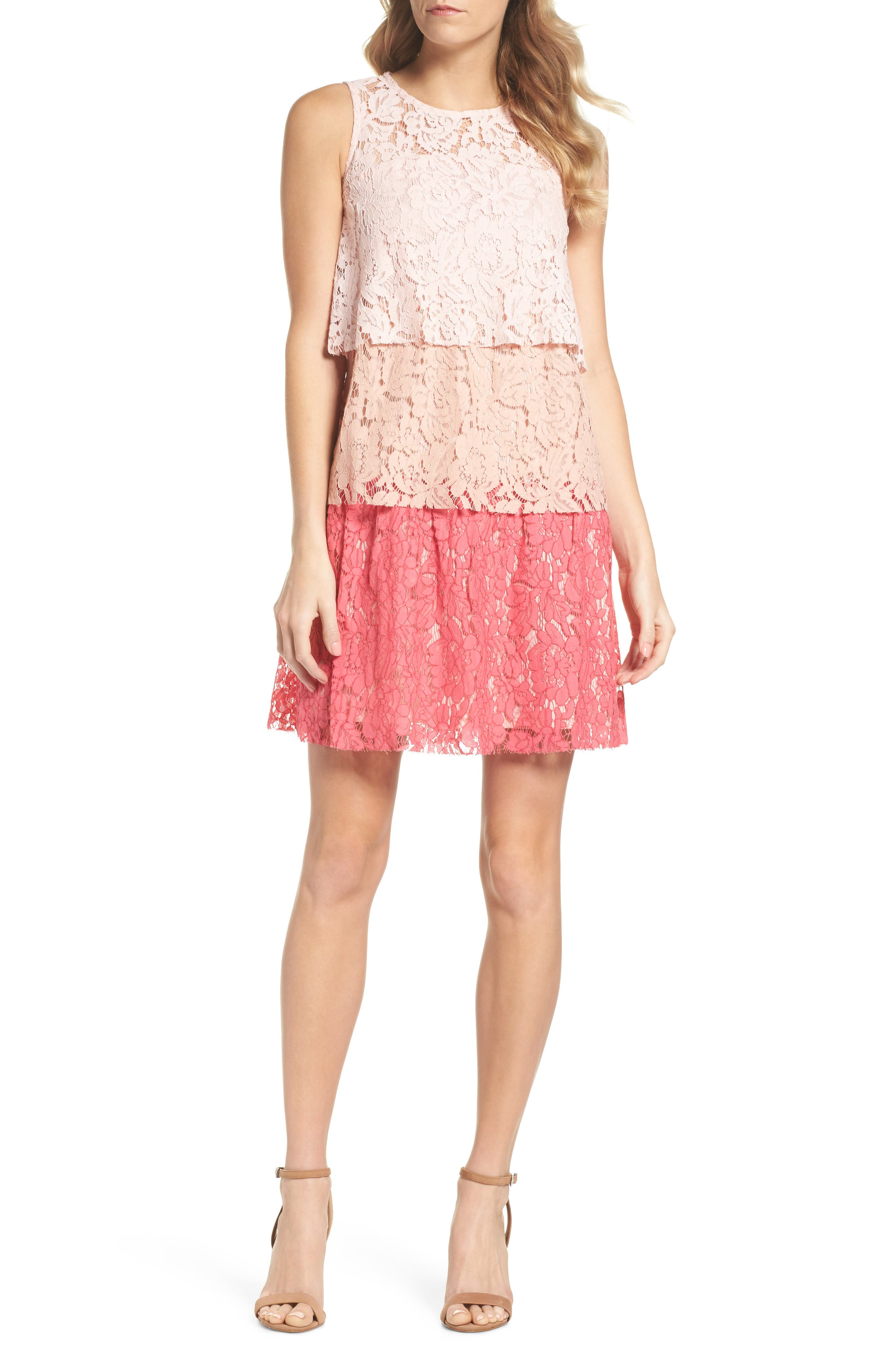 Sleeveless Tiered Lace Dress,                             Main thumbnail 1, color,                             Blush Coral