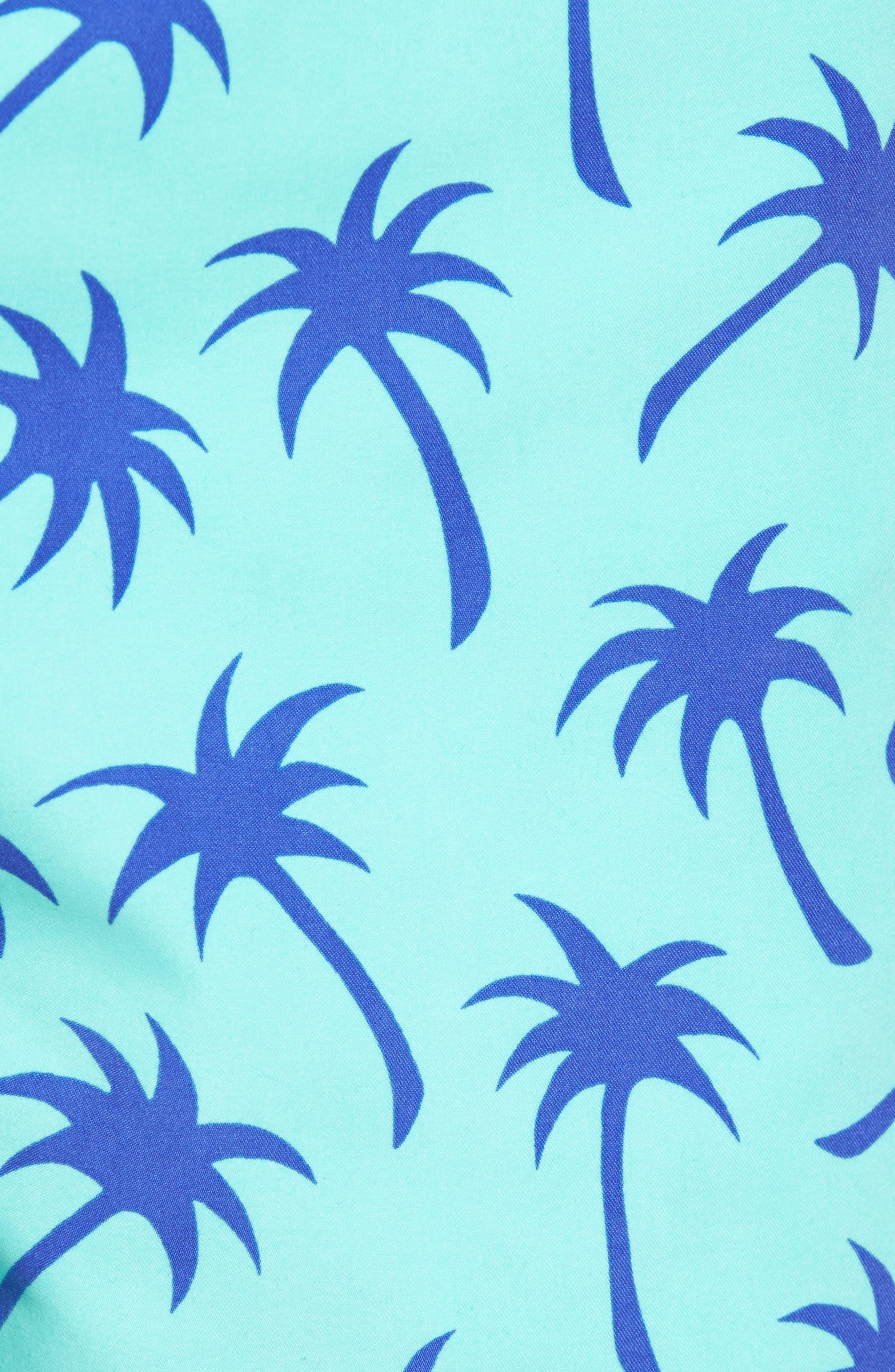 Palm Tree Print Swim Trunks,                             Alternate thumbnail 5, color,                             Emerald/ Blue