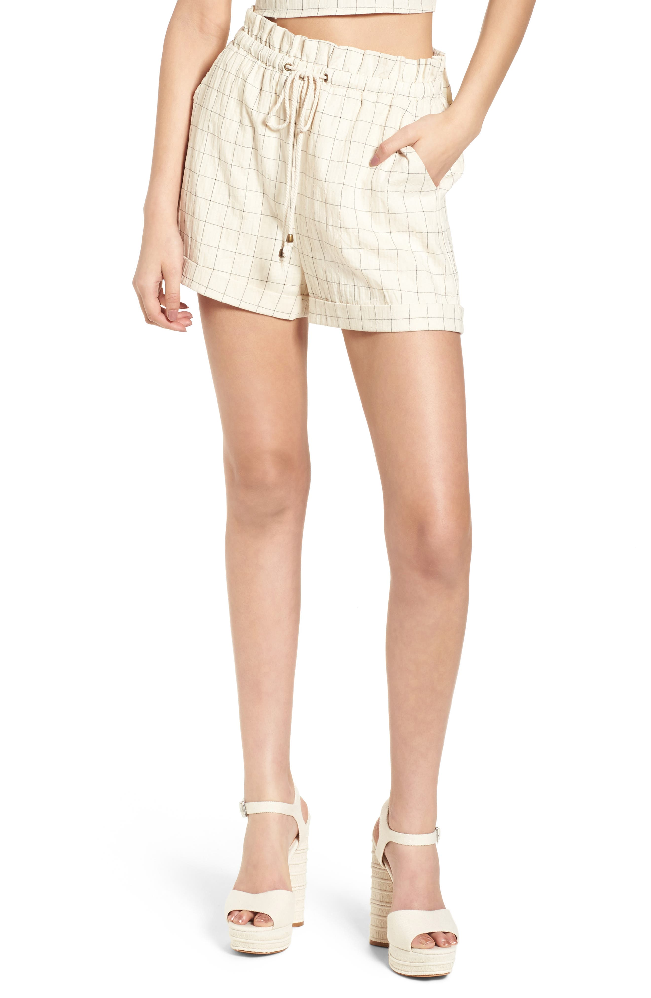 Drawstring Woven Shorts,                             Main thumbnail 1, color,                             Beige