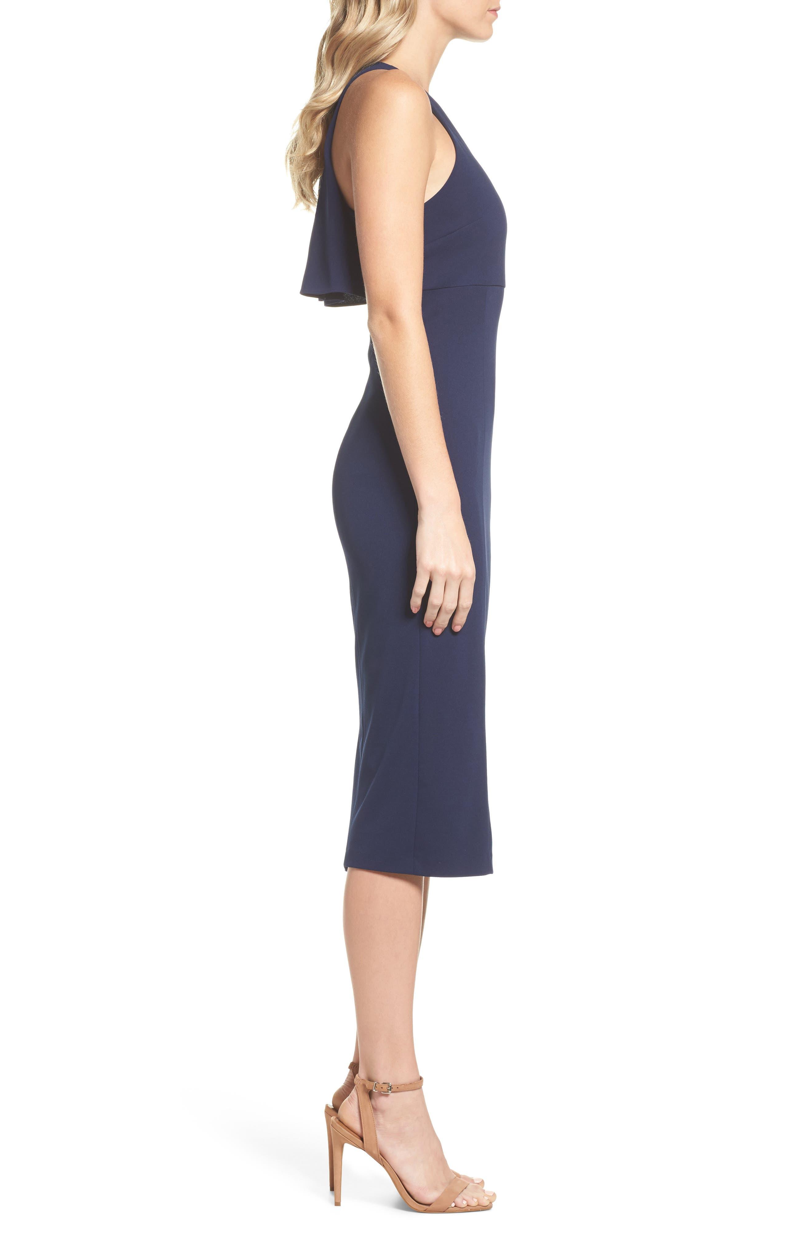 Open Back Sheath Dress,                             Alternate thumbnail 3, color,                             Navy