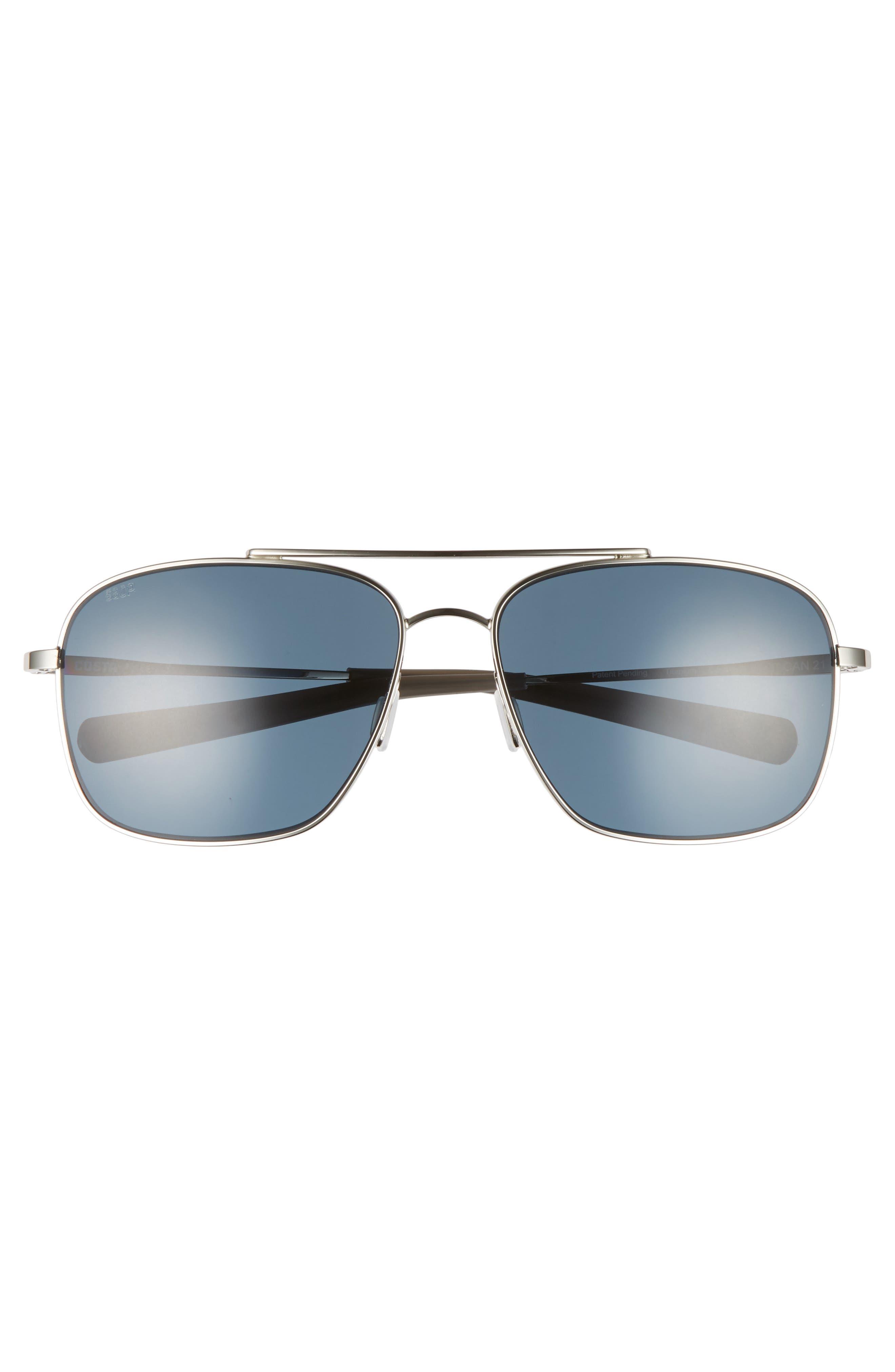 Canaveral 58mm Polarized Sunglasses,                             Alternate thumbnail 2, color,                             Shiny Palladium/ Grey