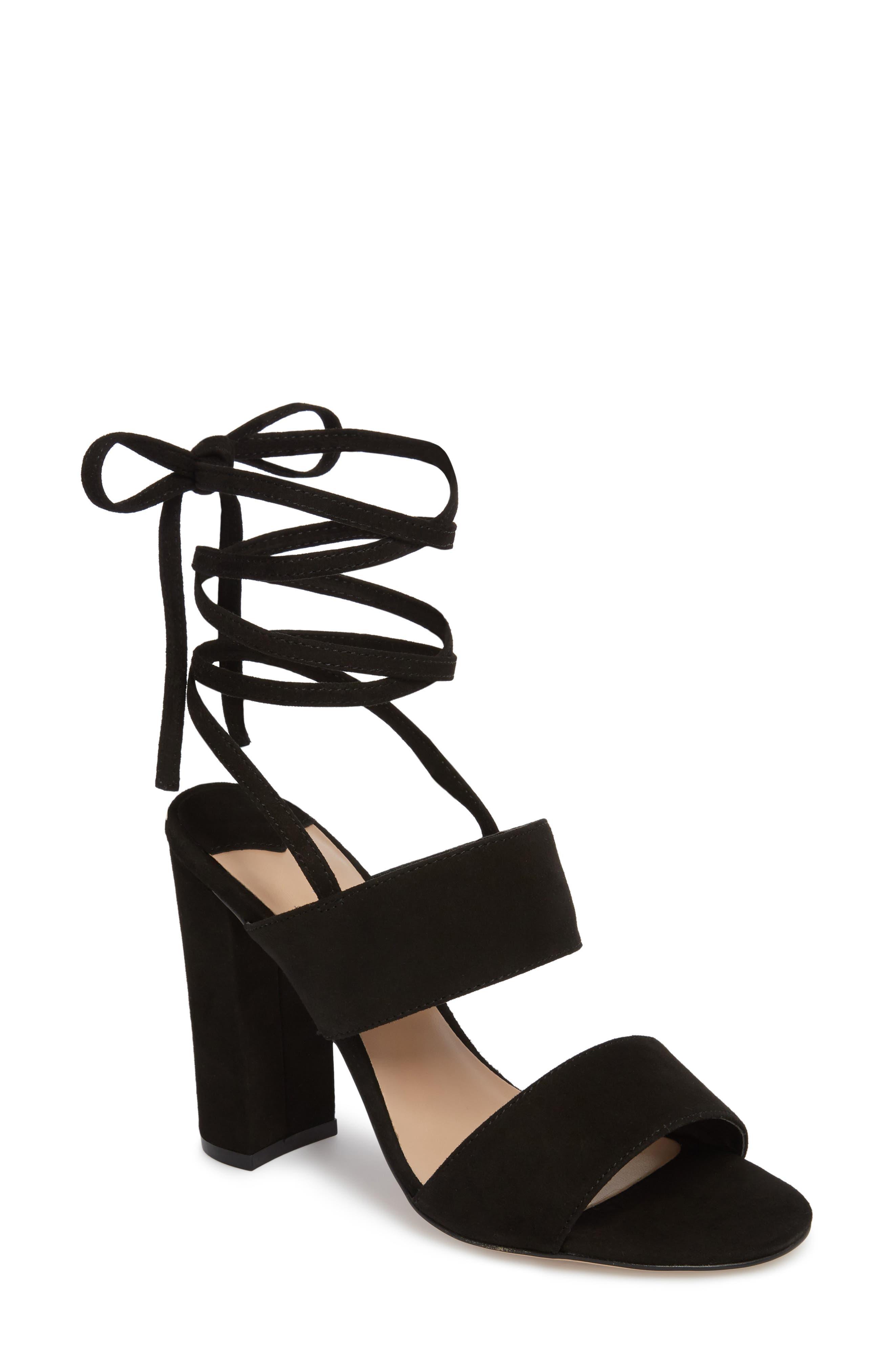 Kiko Ankle Tie Sandal,                             Main thumbnail 1, color,                             Black Suede