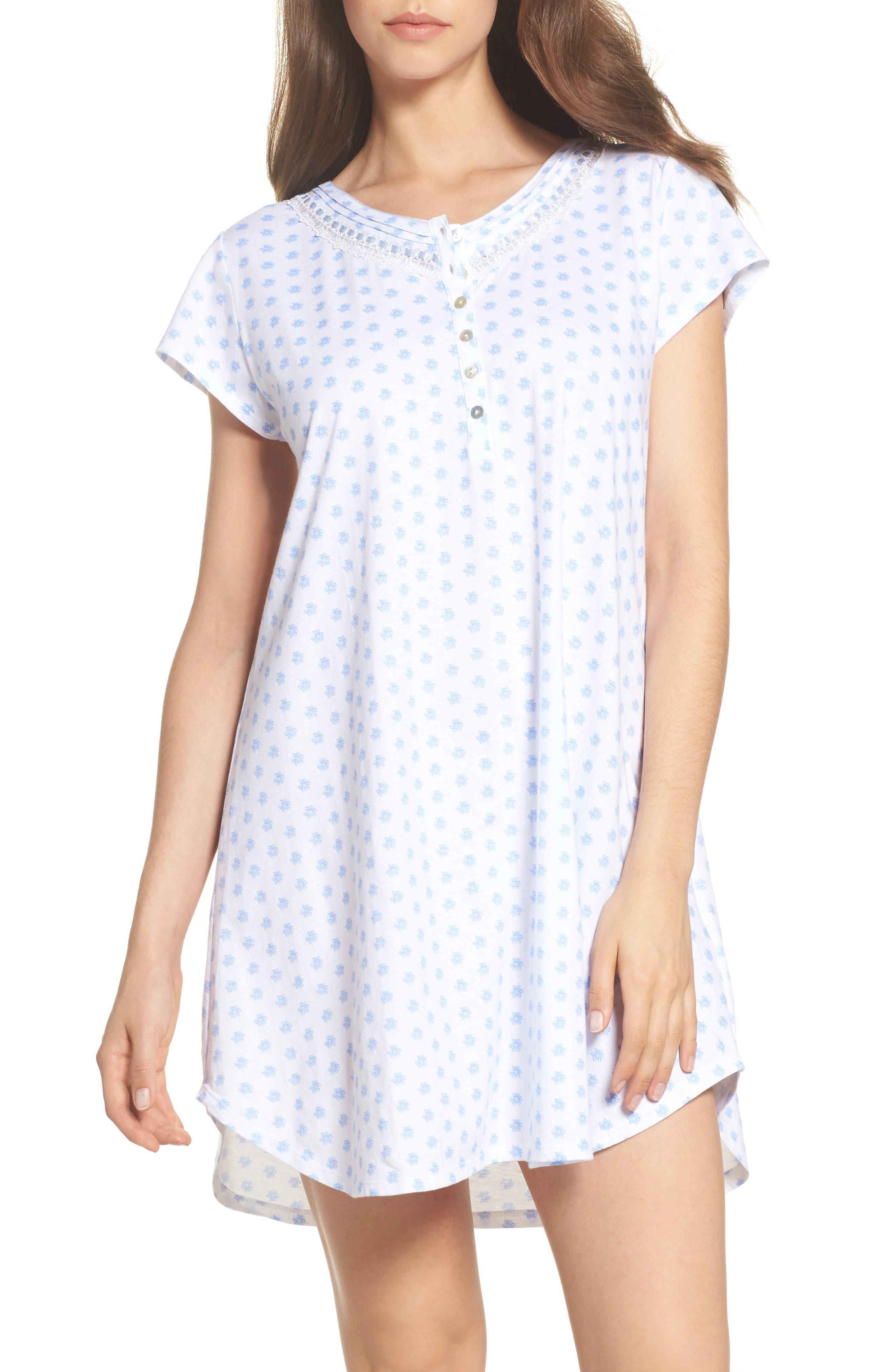 Jersey Sleep Shirt,                             Main thumbnail 1, color,                             White Blue Geo