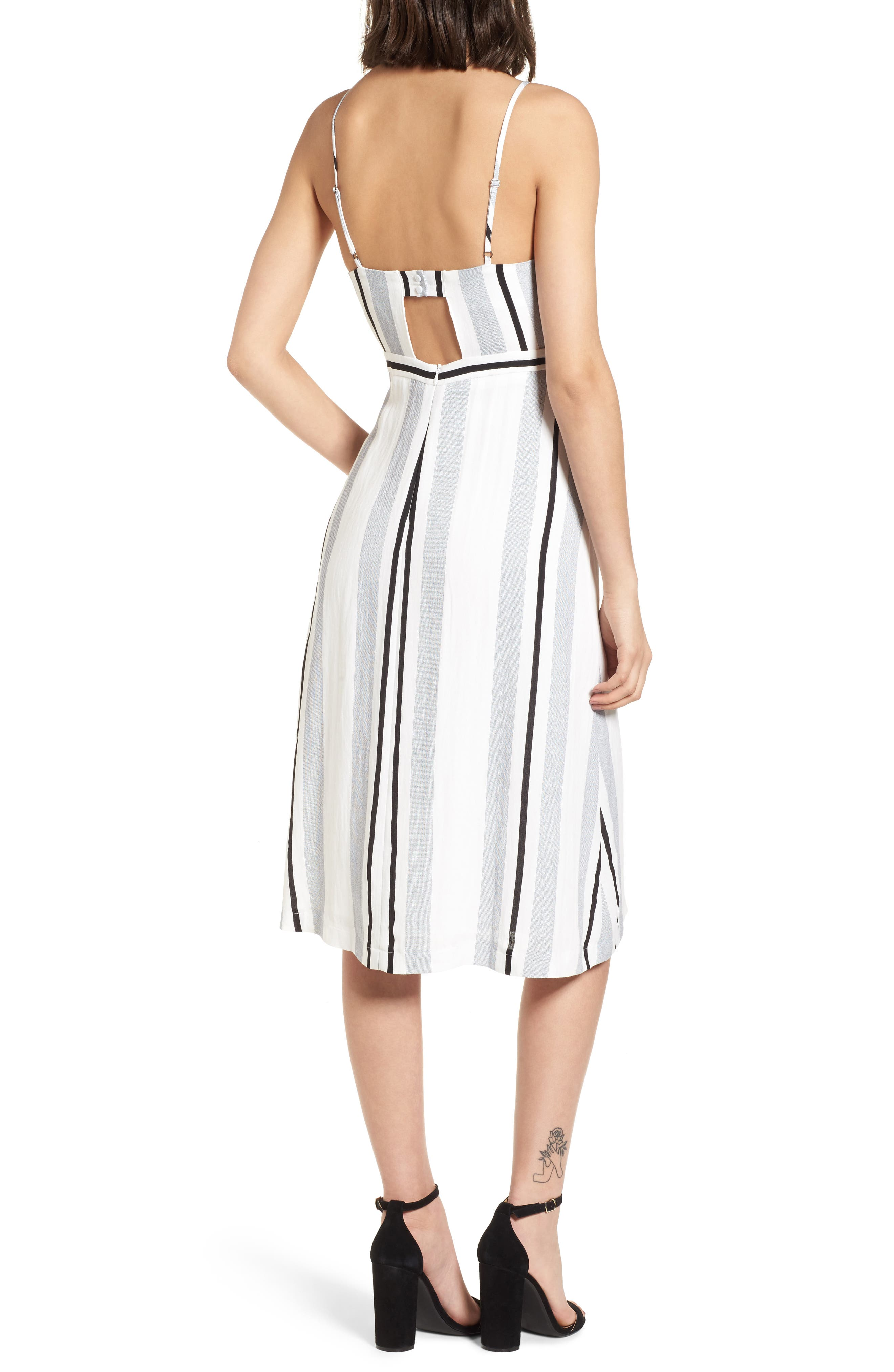 Stripe Tie Front Midi Dress,                             Alternate thumbnail 2, color,                             Blue/ White Stripe