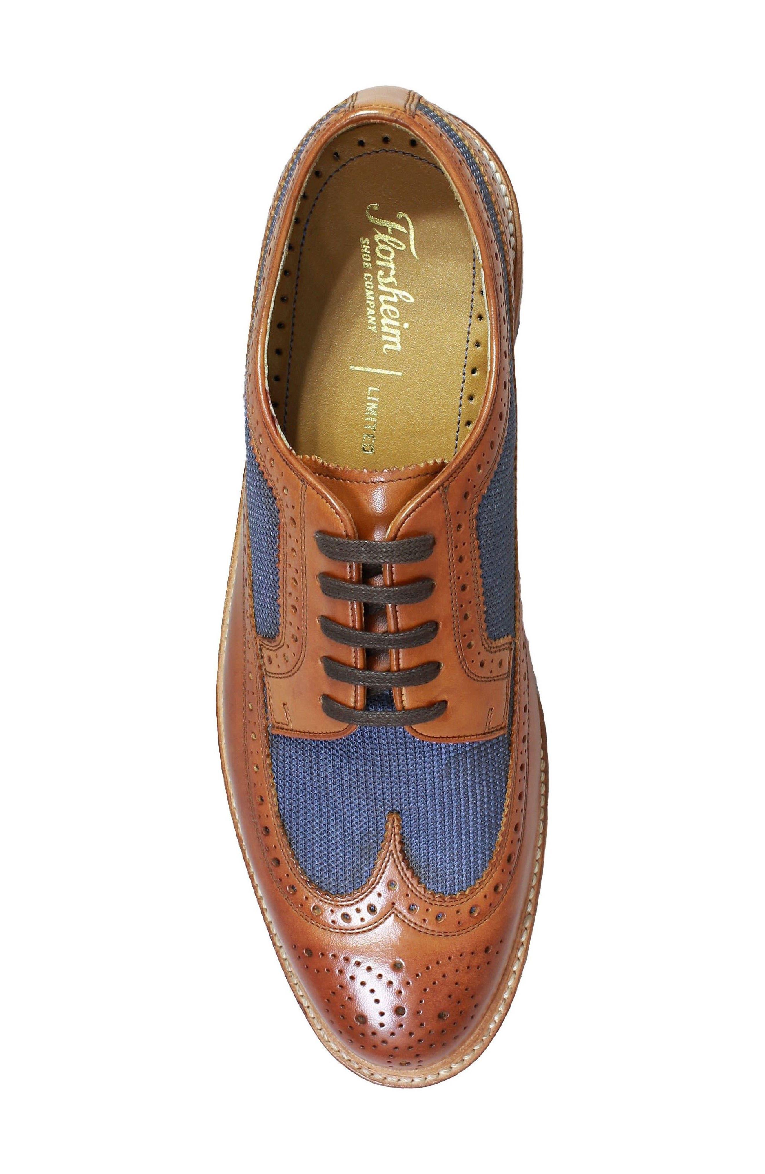 'Heritage' Wingtip,                             Alternate thumbnail 5, color,                             Cognac Leather/ Mesh