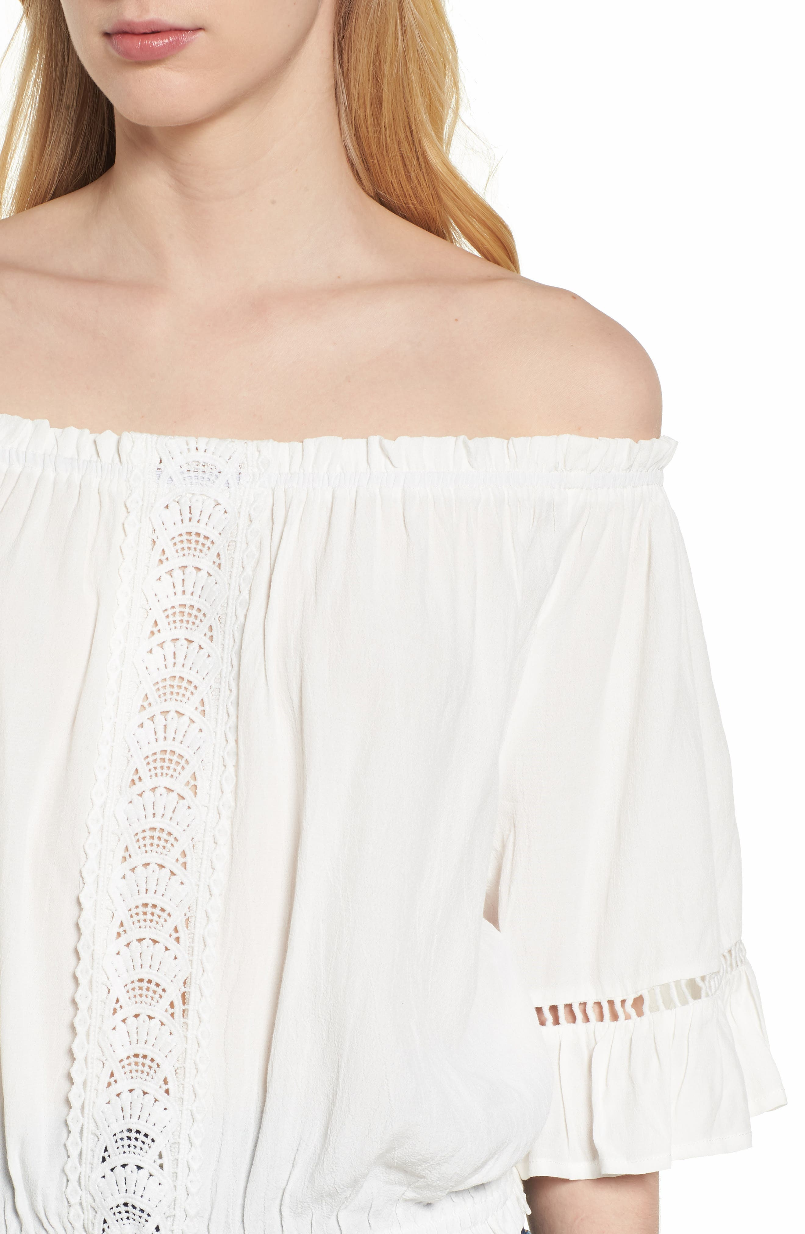 Bishop + Young Off the Shoulder Poet Top,                             Alternate thumbnail 4, color,                             White