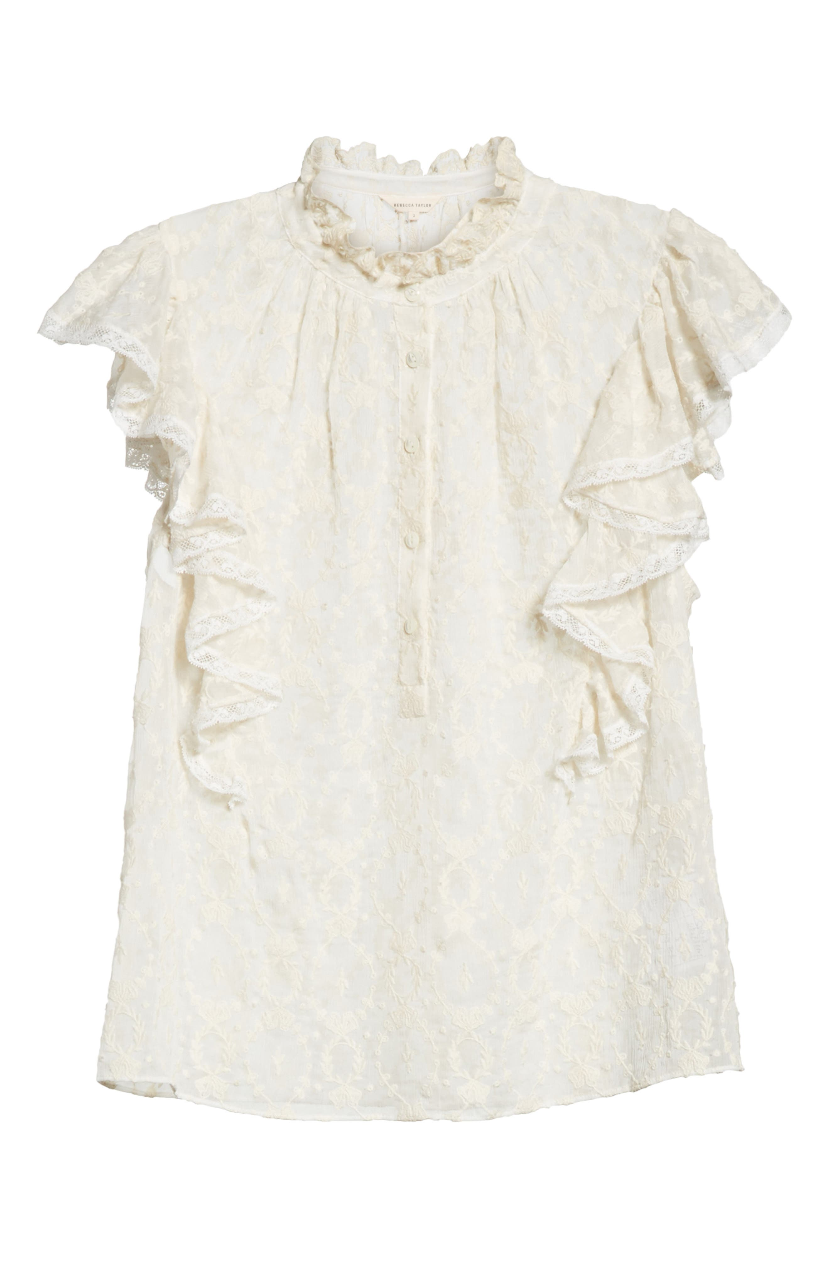 Lily Ruffle Embroidered Silk Top,                             Alternate thumbnail 6, color,                             Snow