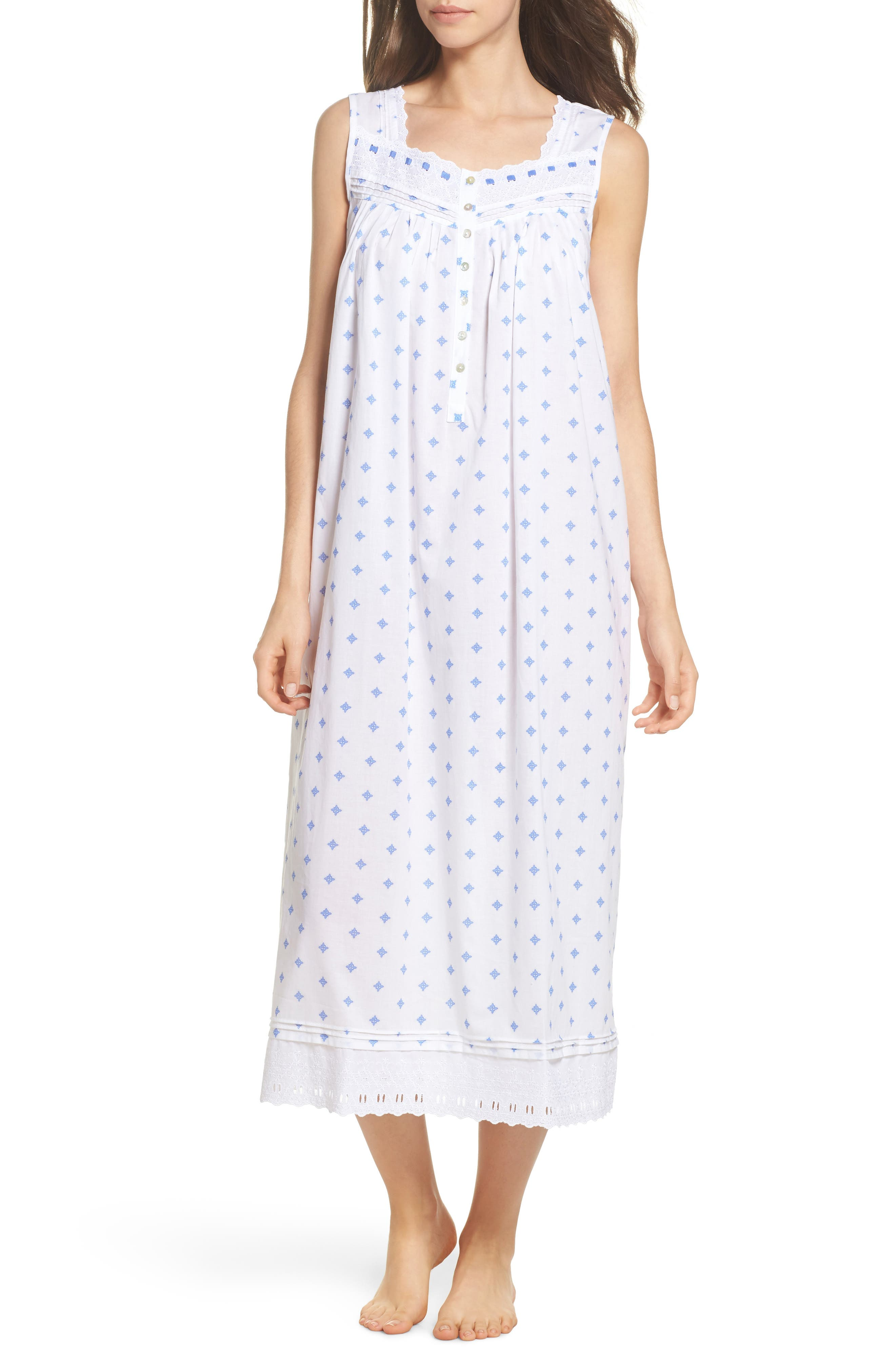Ballet Nightgown,                         Main,                         color, White Blue Geo