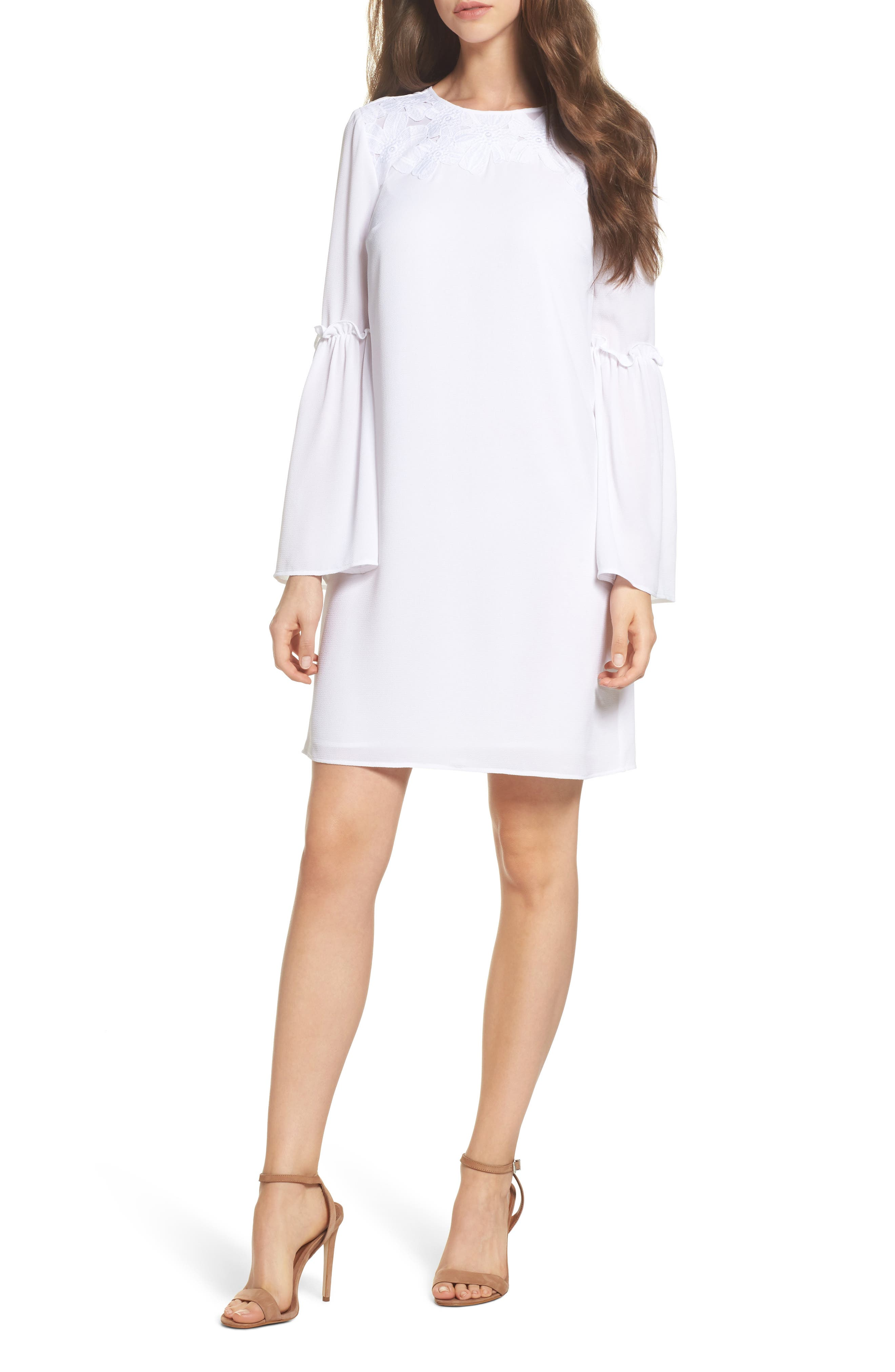 Lace Appliqué Bell Sleeve Dress,                             Main thumbnail 1, color,                             White
