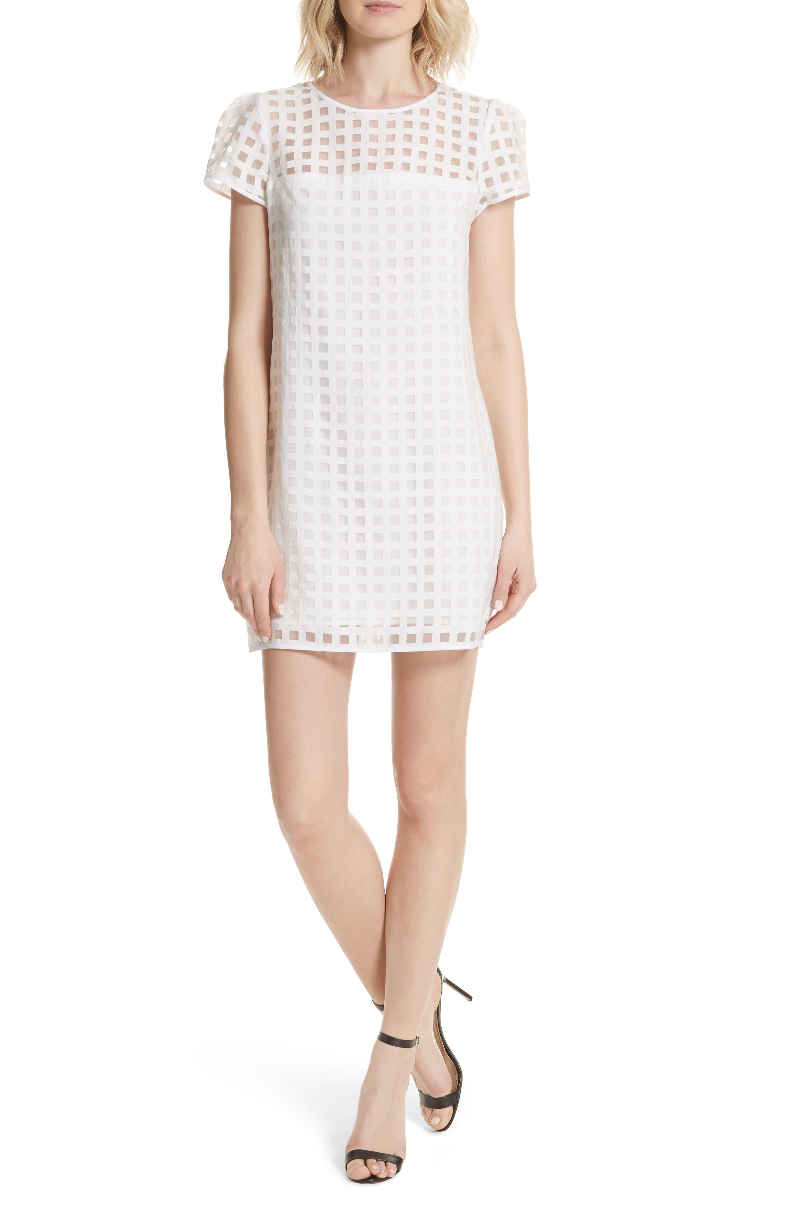 Chloe Illusion Check Shift Dress,                         Main,                         color, White