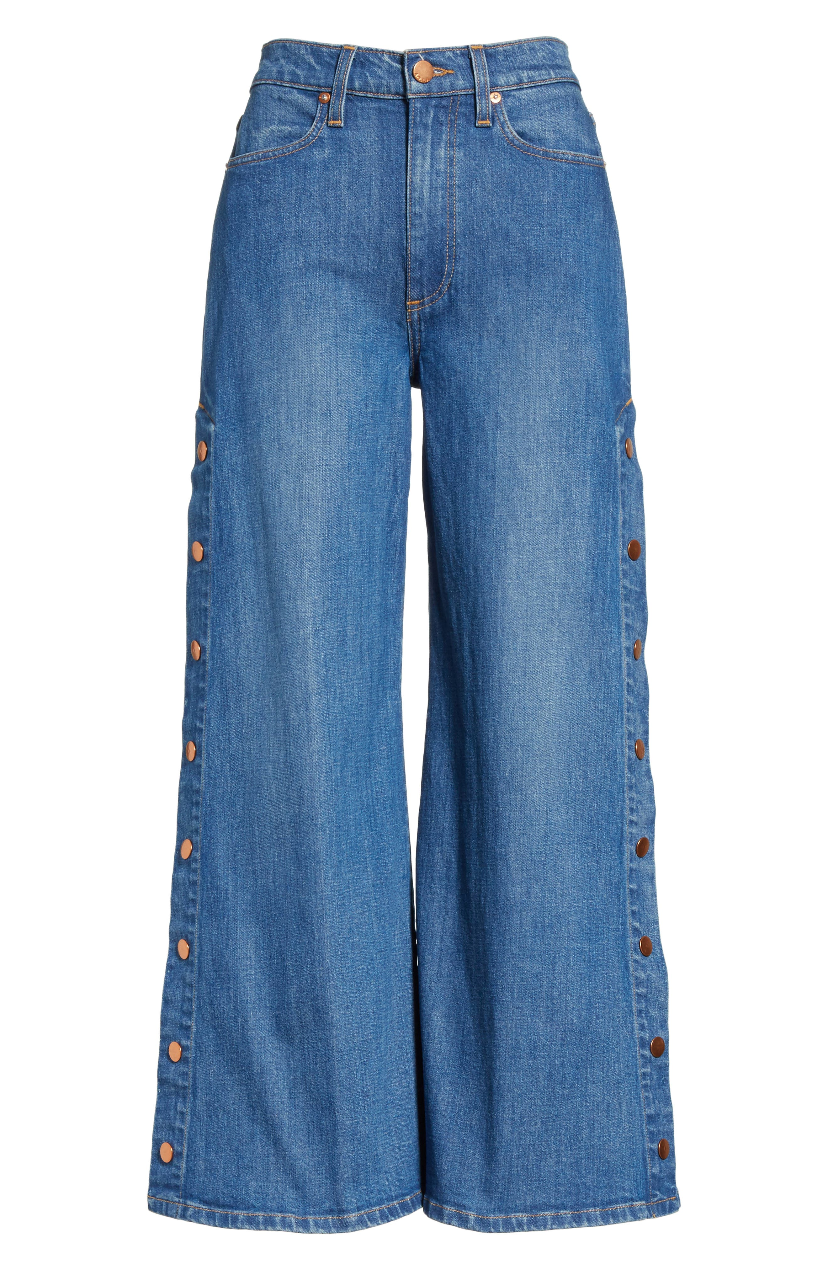 AO.LA Gorgeous Snap Side Crop Flare Jeans,                             Alternate thumbnail 6, color,                             French Blue