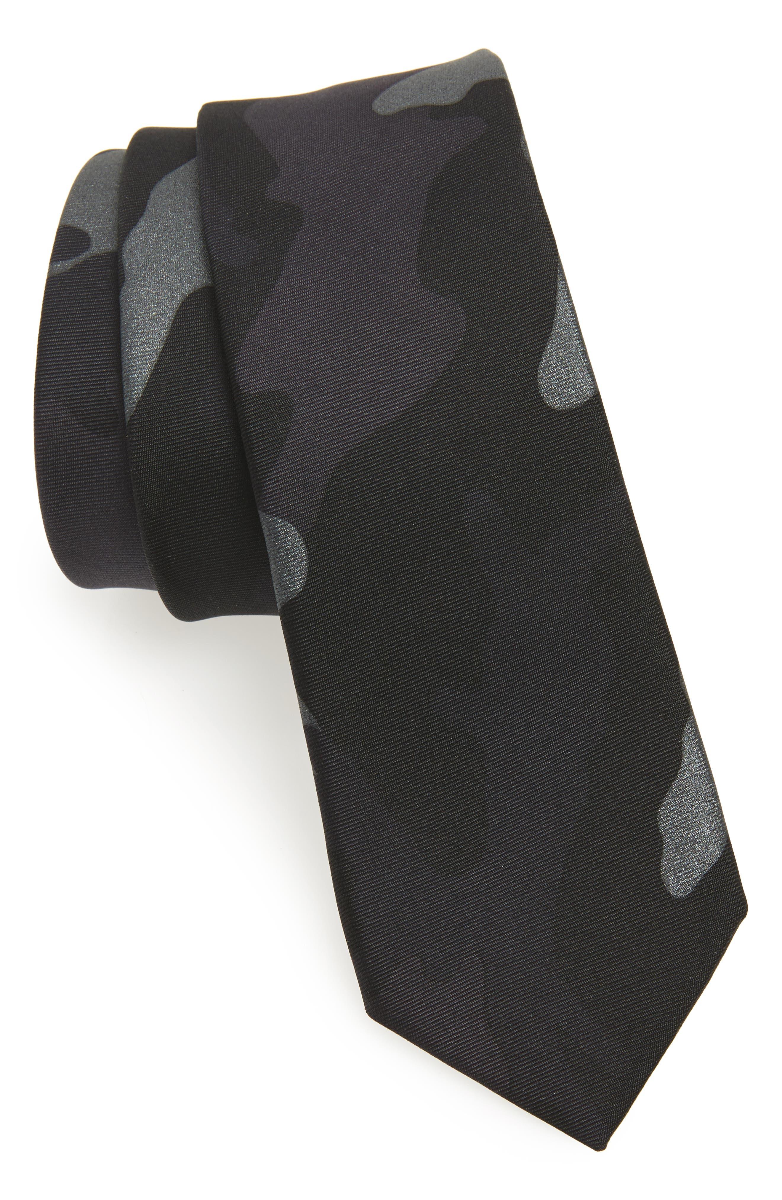 Valentino Camo Silk Skinny Tie
