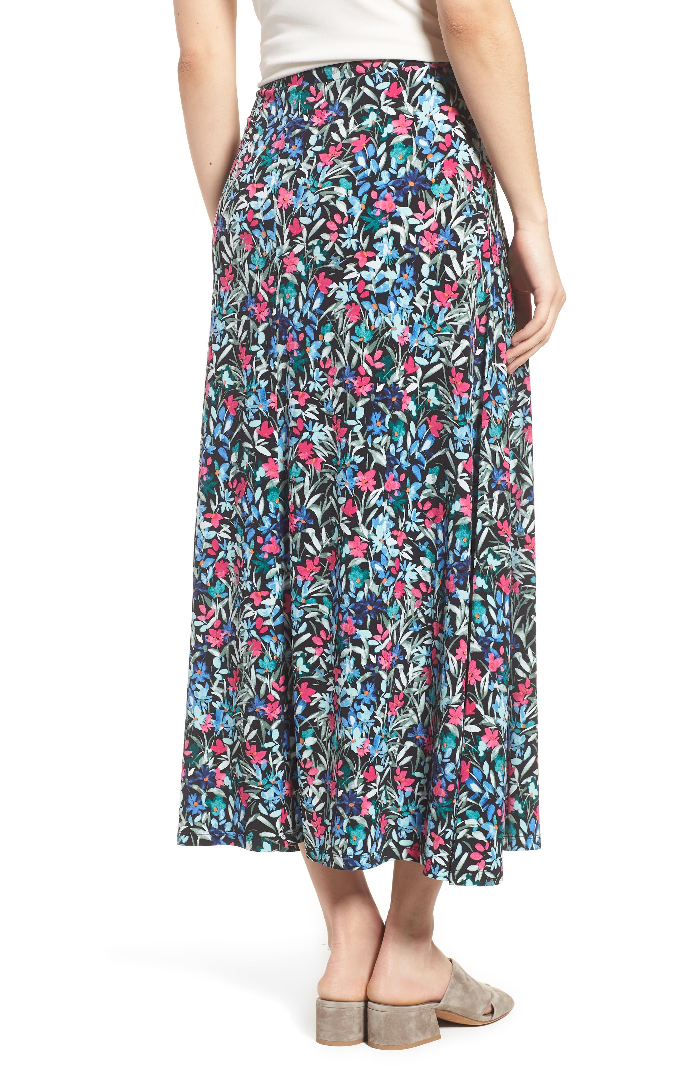 Radiant Flowers Maxi Skirt,                             Alternate thumbnail 2, color,                             060-Rich Black