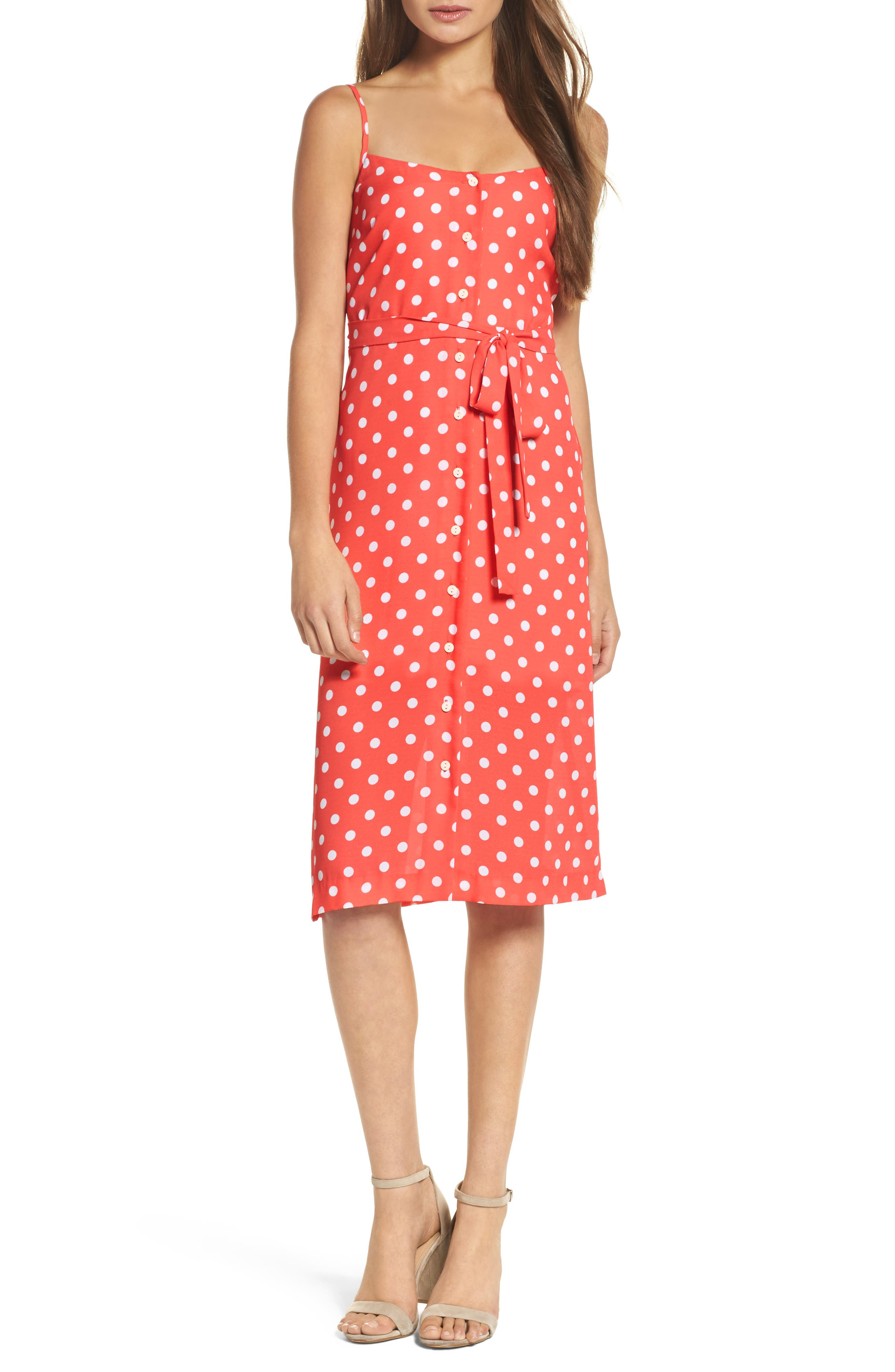 Flower Frolicking Midi Dress,                             Main thumbnail 1, color,                             Coral Polka Dot