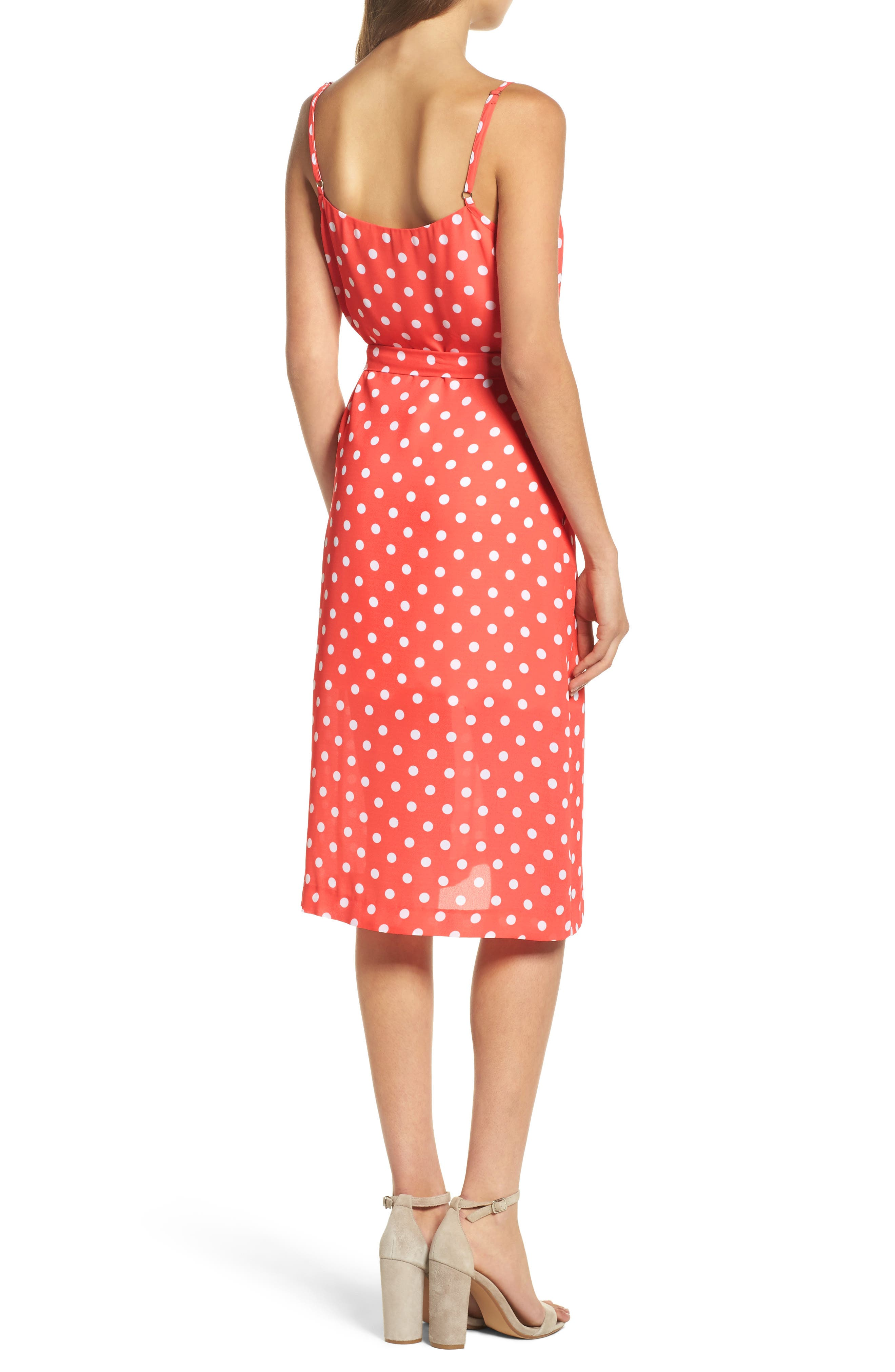 Flower Frolicking Midi Dress,                             Alternate thumbnail 2, color,                             Coral Polka Dot