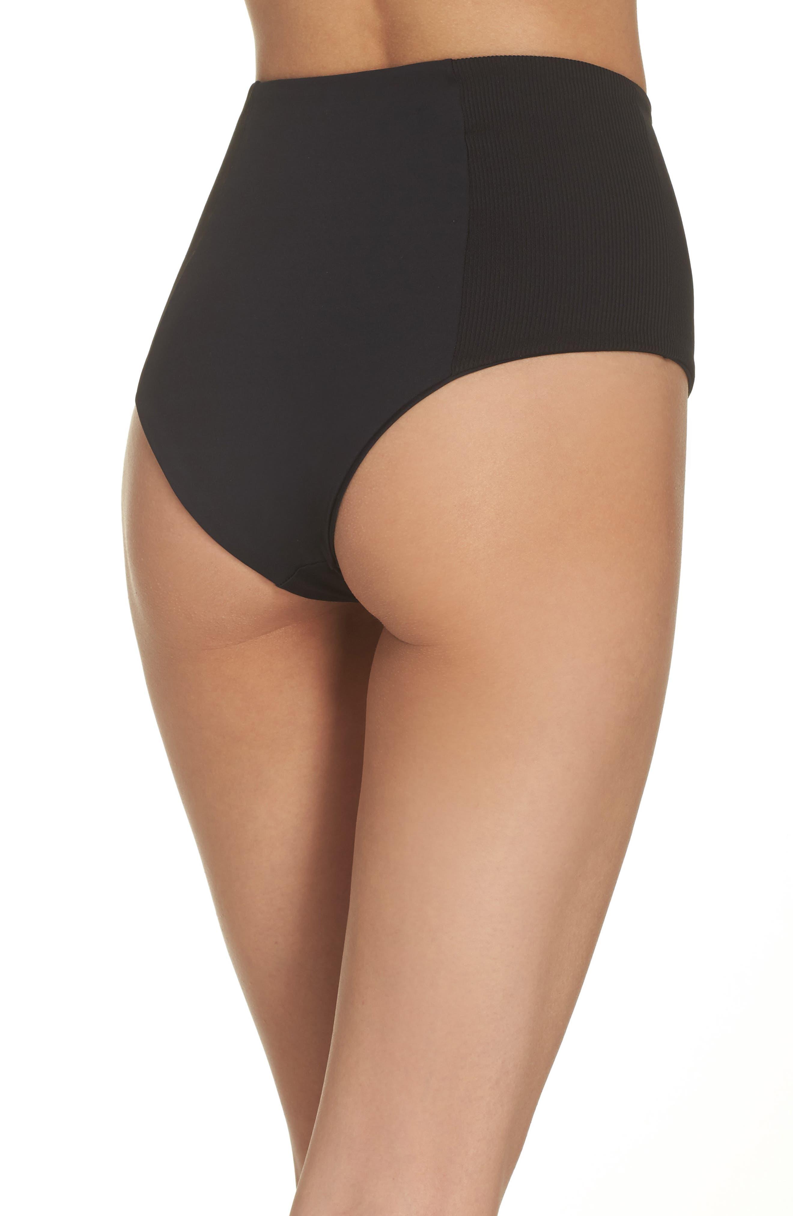 Jackie High Waist Bikini Bottoms,                             Alternate thumbnail 2, color,                             Black