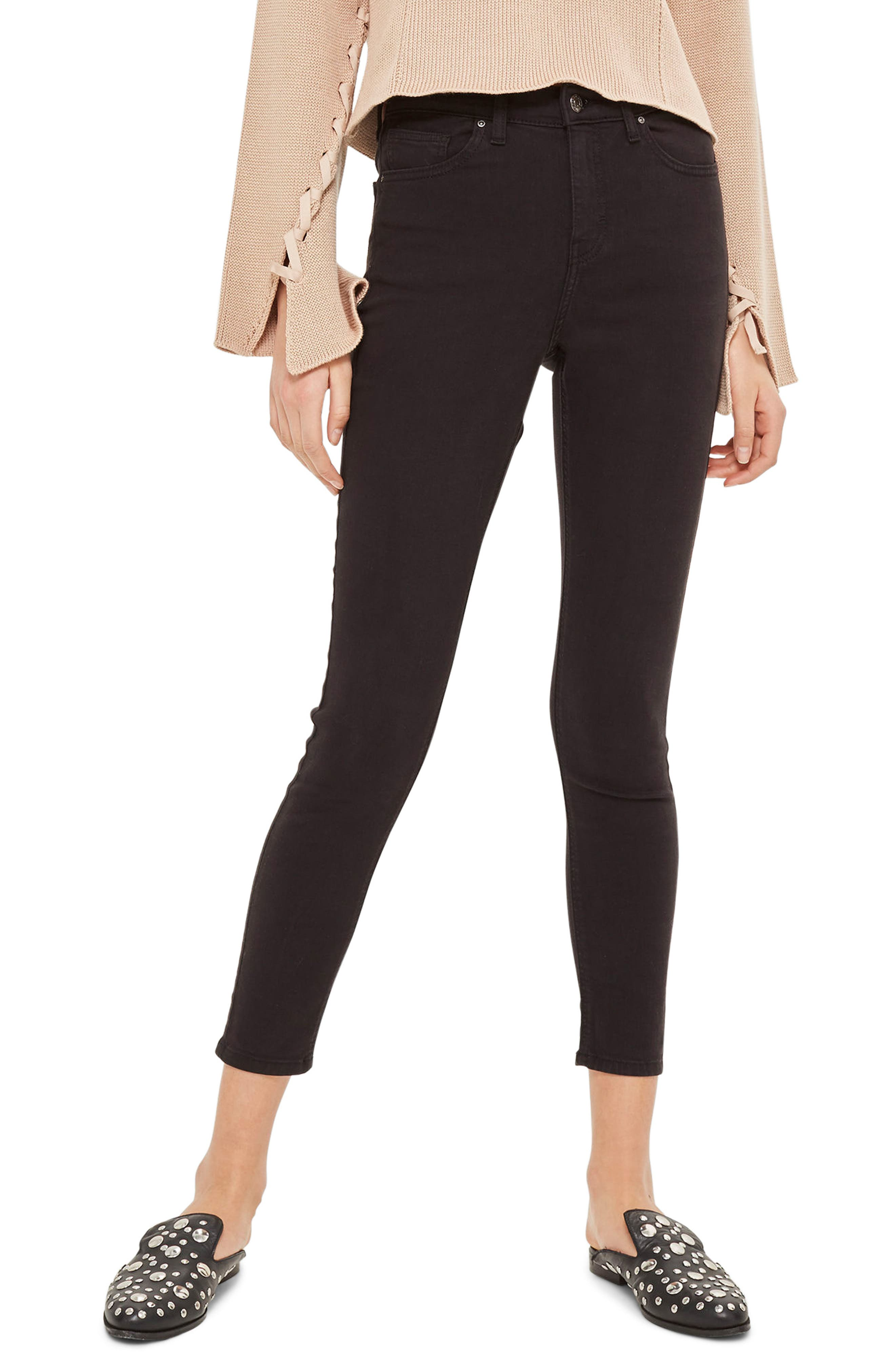 Jamie High Waist Skinny Jeans,                             Main thumbnail 1, color,                             Black