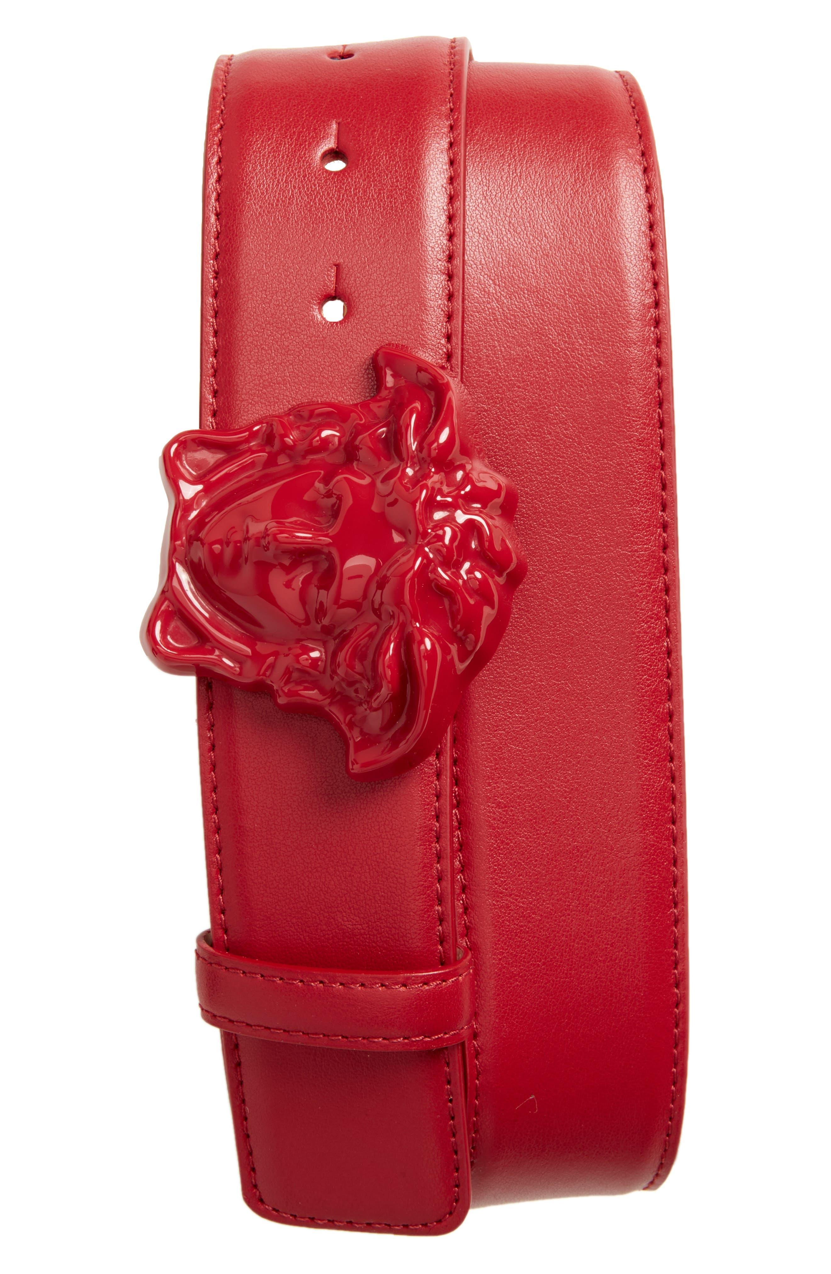 Alternate Image 1 Selected - Versace First Line Medusa Head Leather Belt