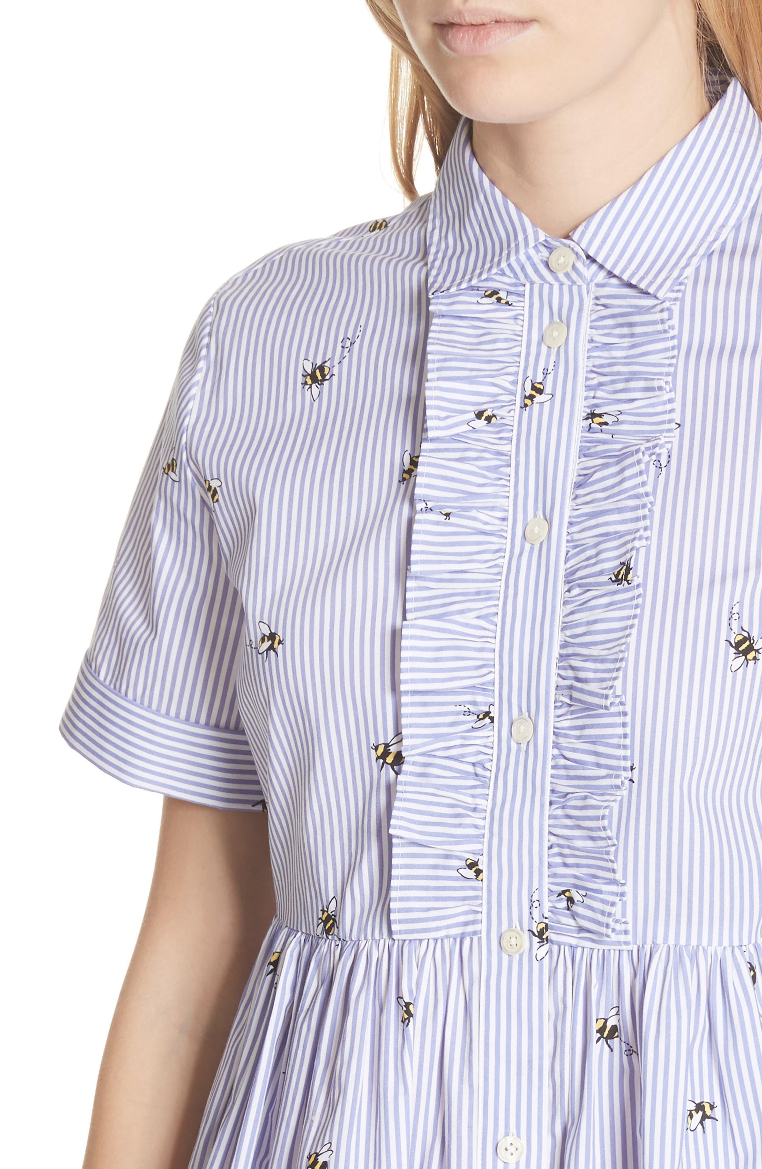 abuzz poplin shirtdress,                             Alternate thumbnail 4, color,                             Fresh White/ Rich Lapis