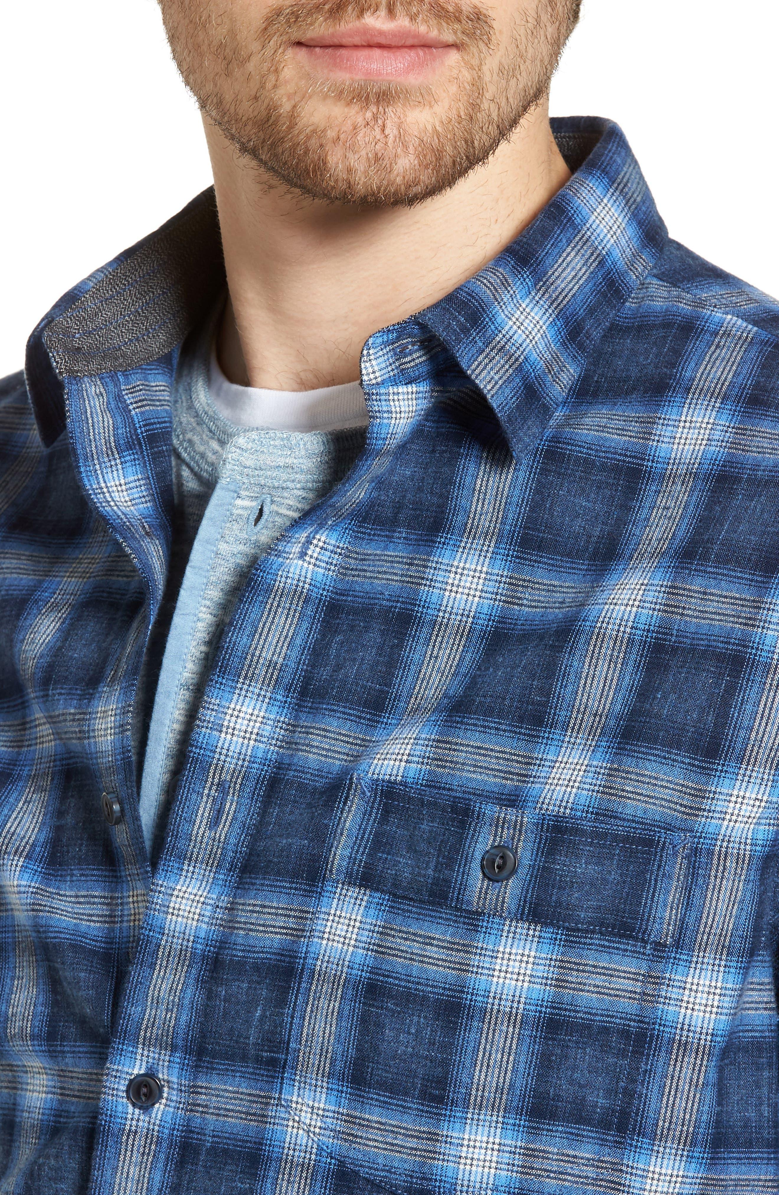 Trim Fit Plaid Sport Shirt,                             Alternate thumbnail 2, color,                             Black Blue Homespun Plaid