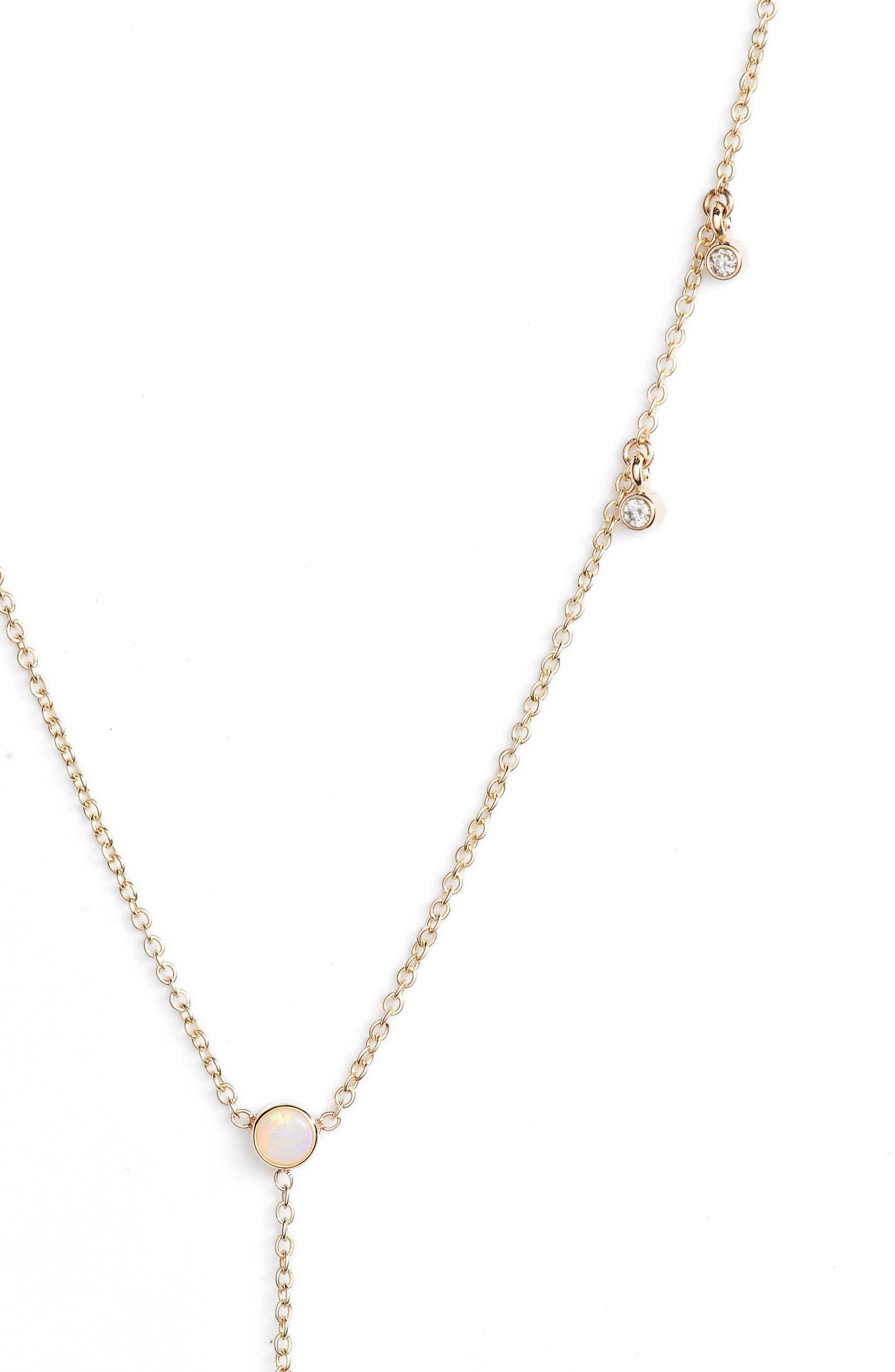 Diamond & Opal Bar Drop Lariat Necklace,                             Alternate thumbnail 2, color,                             Yellow Gold