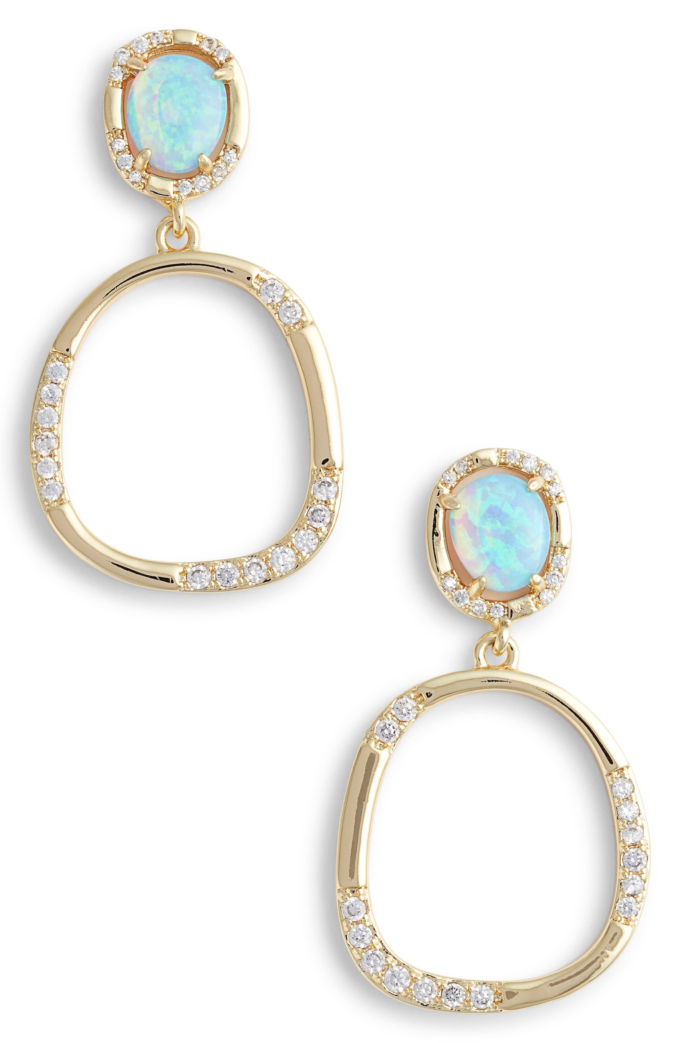 Luna Opal Drop Earrings,                         Main,                         color, Opal/ Crystal