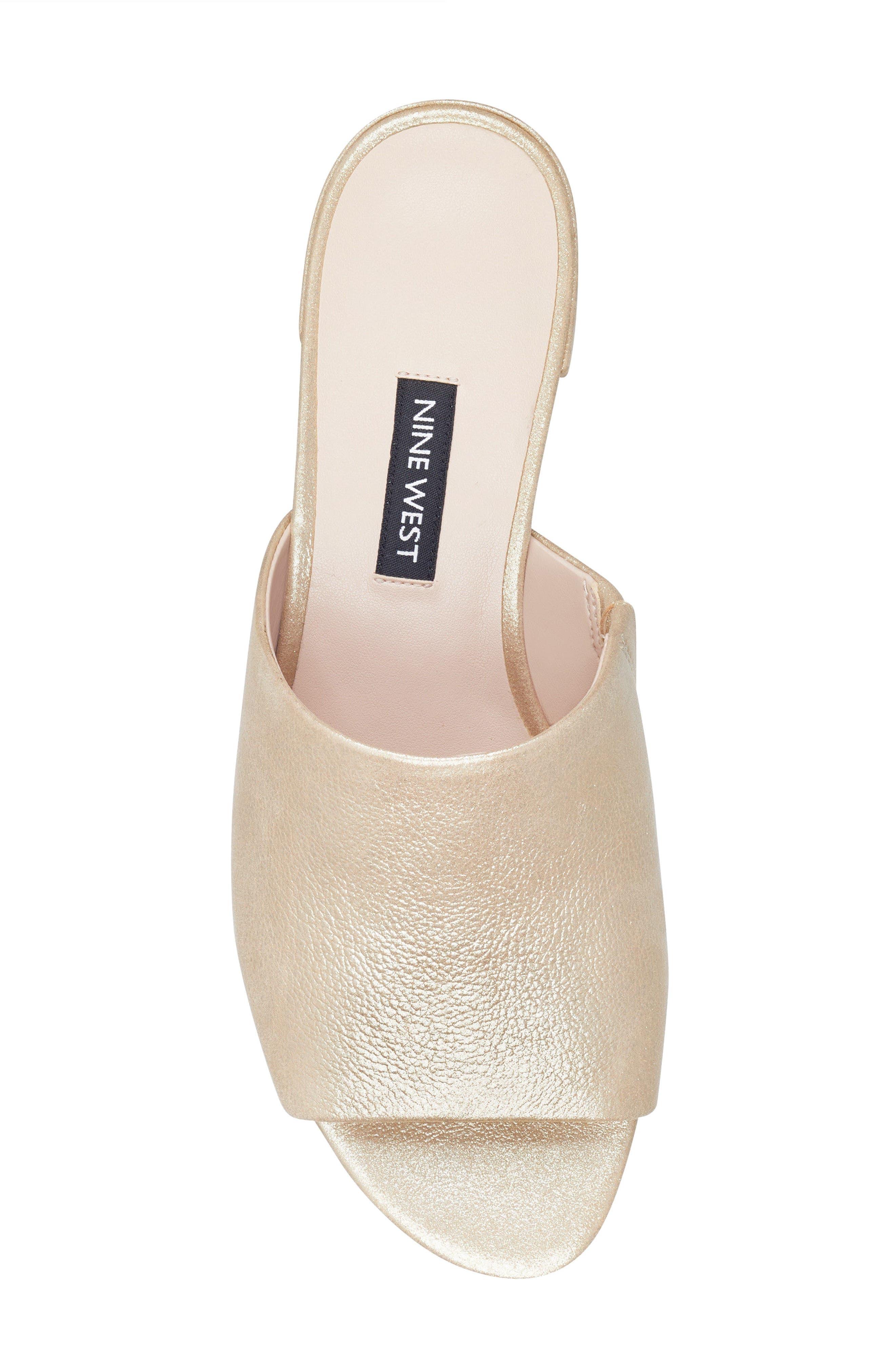 Raissa Slide Sandal,                             Alternate thumbnail 5, color,                             Light Gold Leather