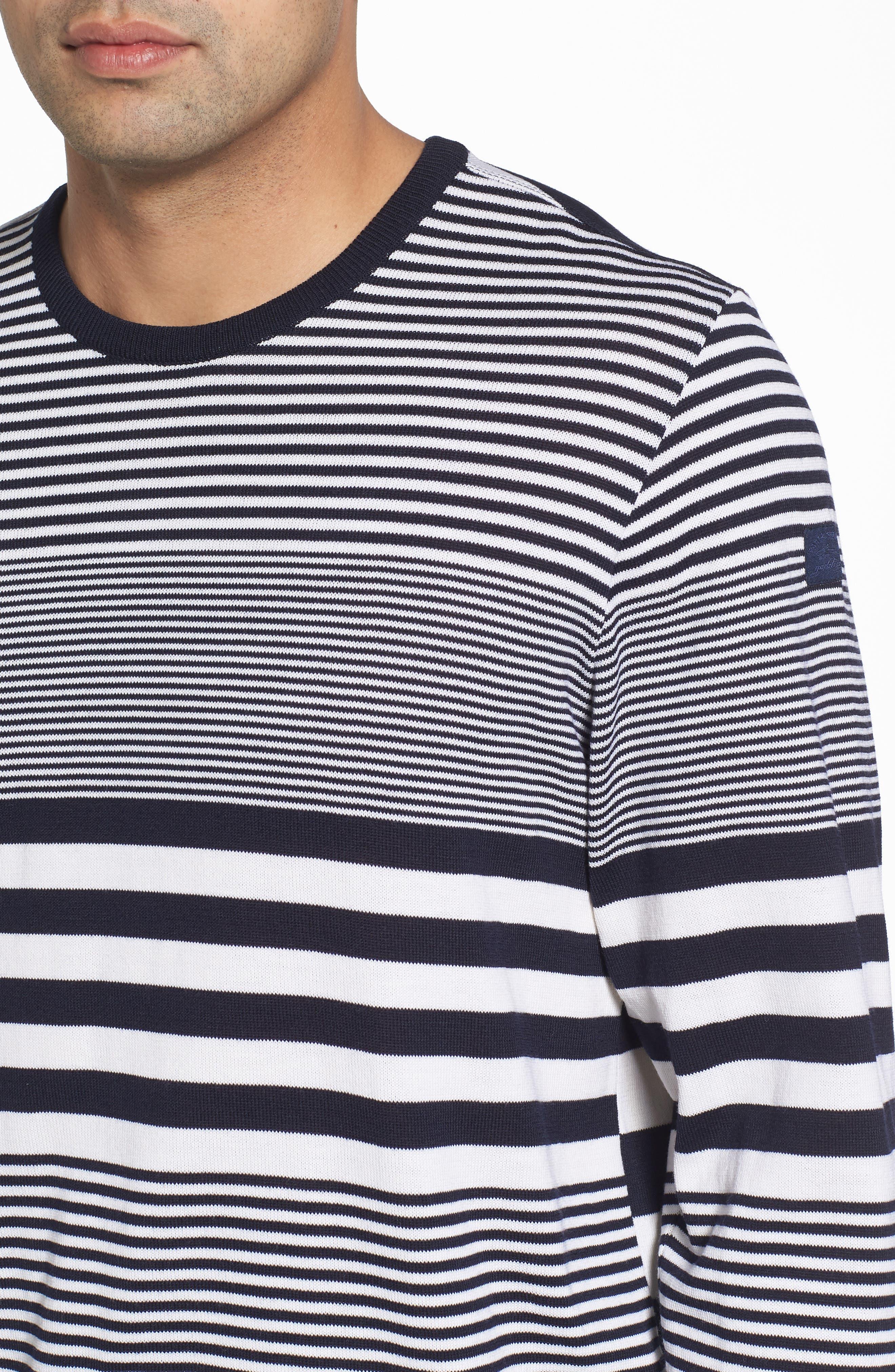 Paul&Shark Stripe Wool Sweater,                             Alternate thumbnail 4, color,                             Navy/ White