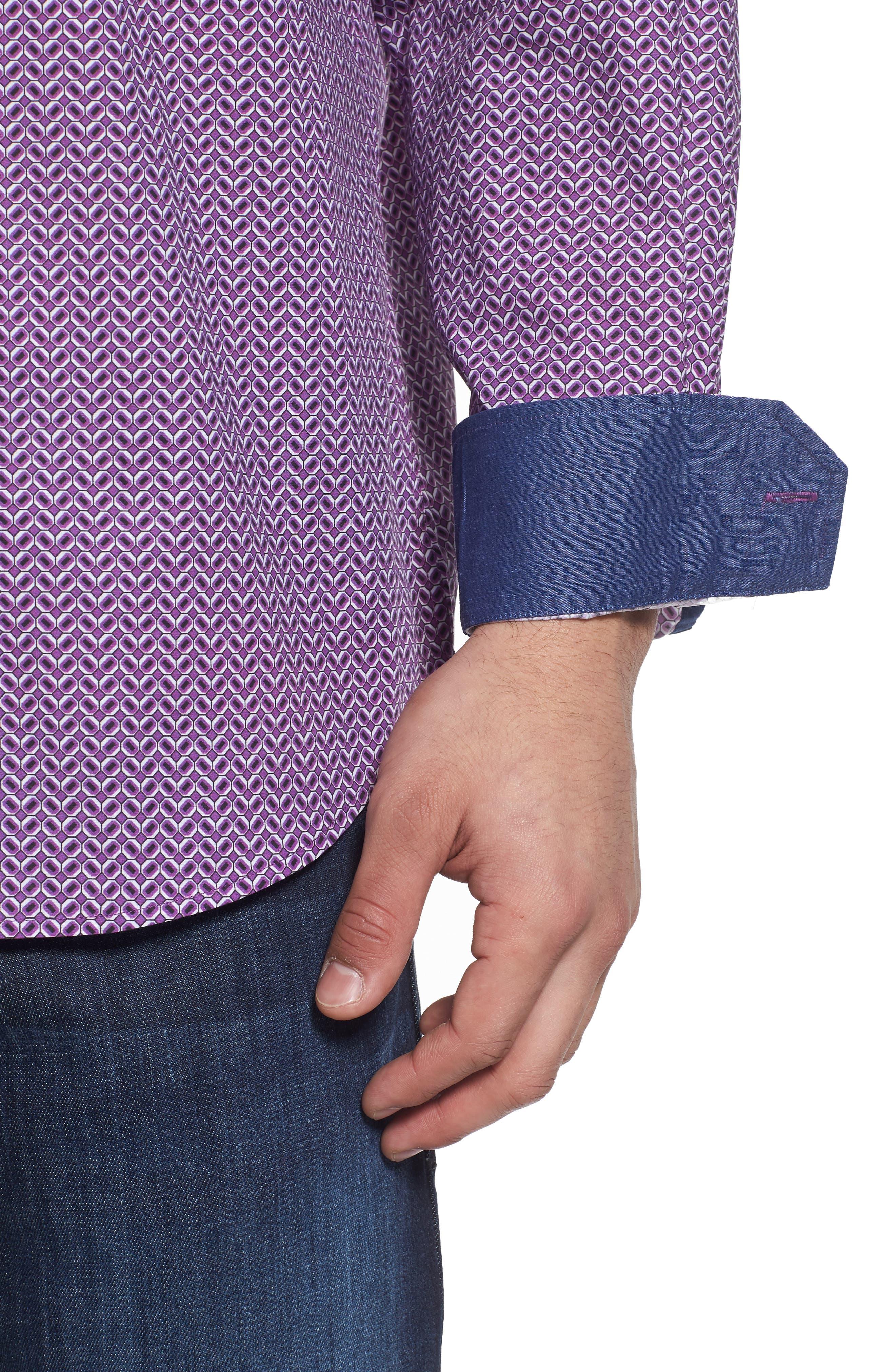Classic Fit Print Sport Shirt,                             Alternate thumbnail 4, color,                             Plum
