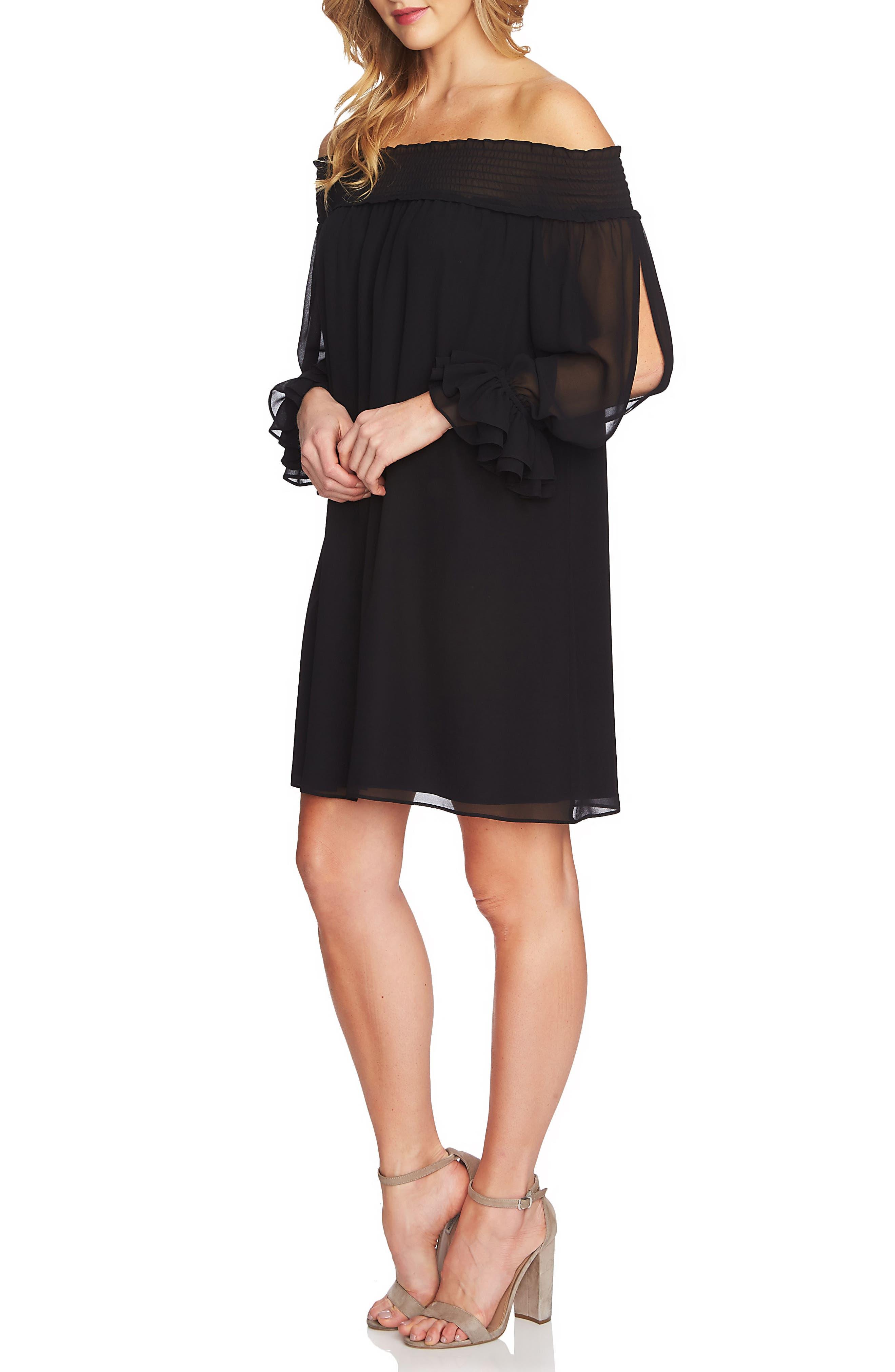 Shiloh Off the Shoulder Split Sleeve Shift Dress,                         Main,                         color, Rich Black