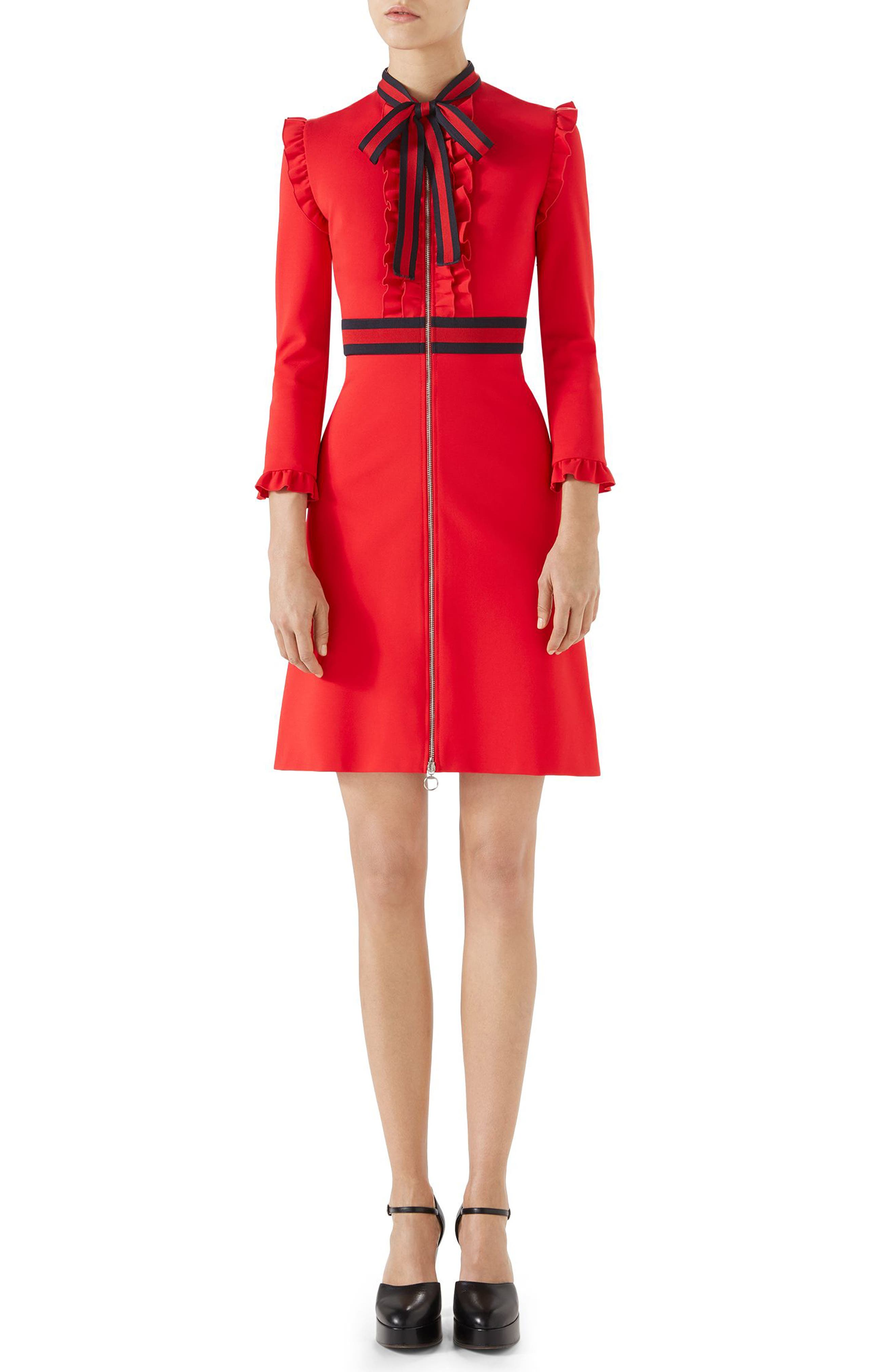 Gucci Ruffle Tie Neck Dress