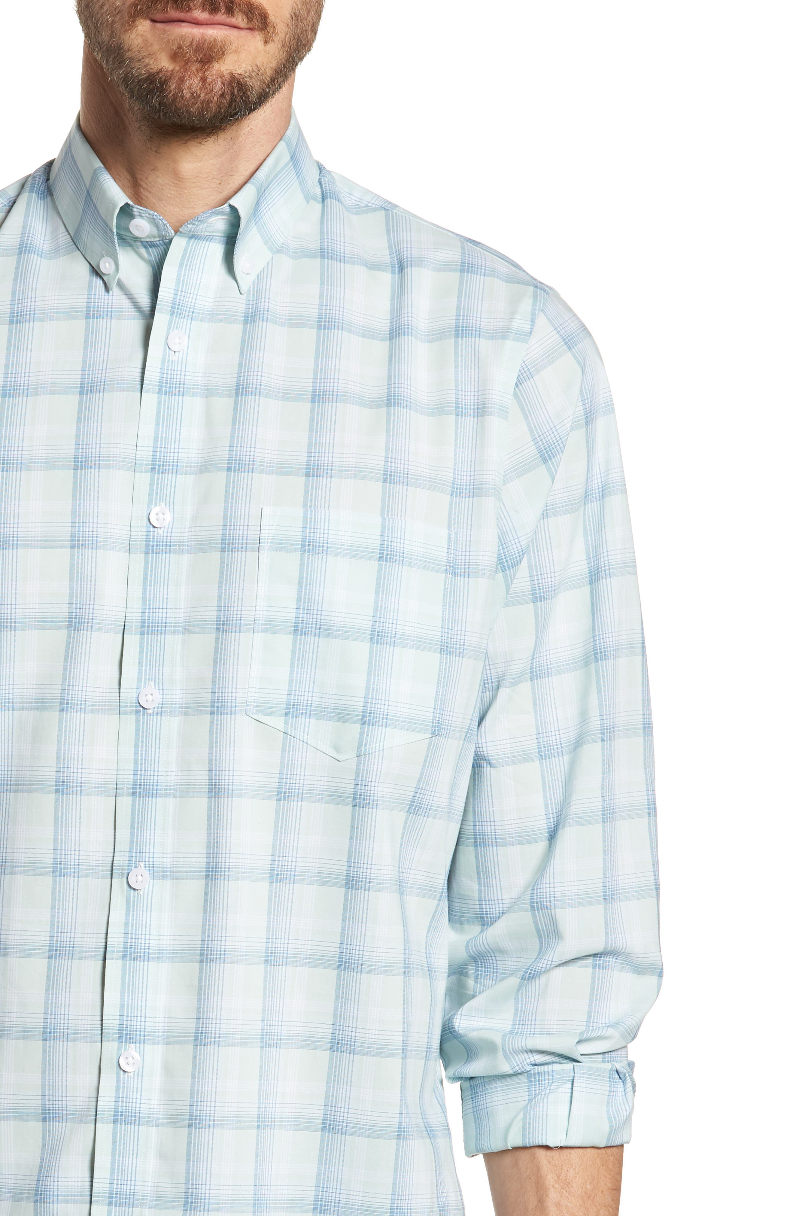 Tech-Smart Regular Fit Plaid Sport Shirt,                             Alternate thumbnail 2, color,                             Teal Surf Blue Plaid