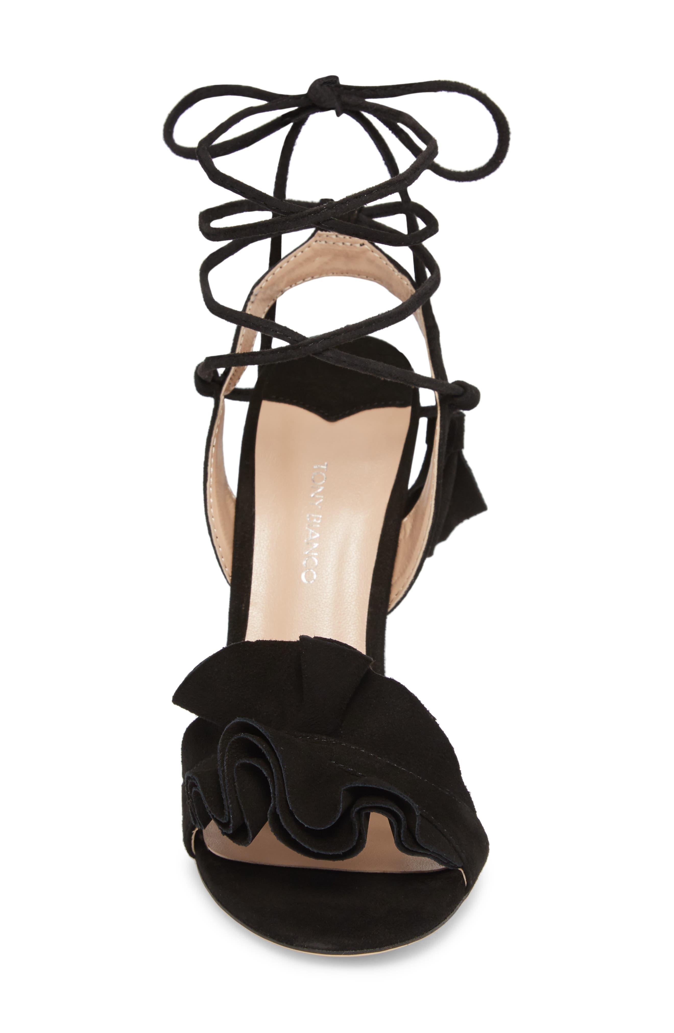 Kalipso Ruffled Wraparound Sandal,                             Alternate thumbnail 4, color,                             Black Suede