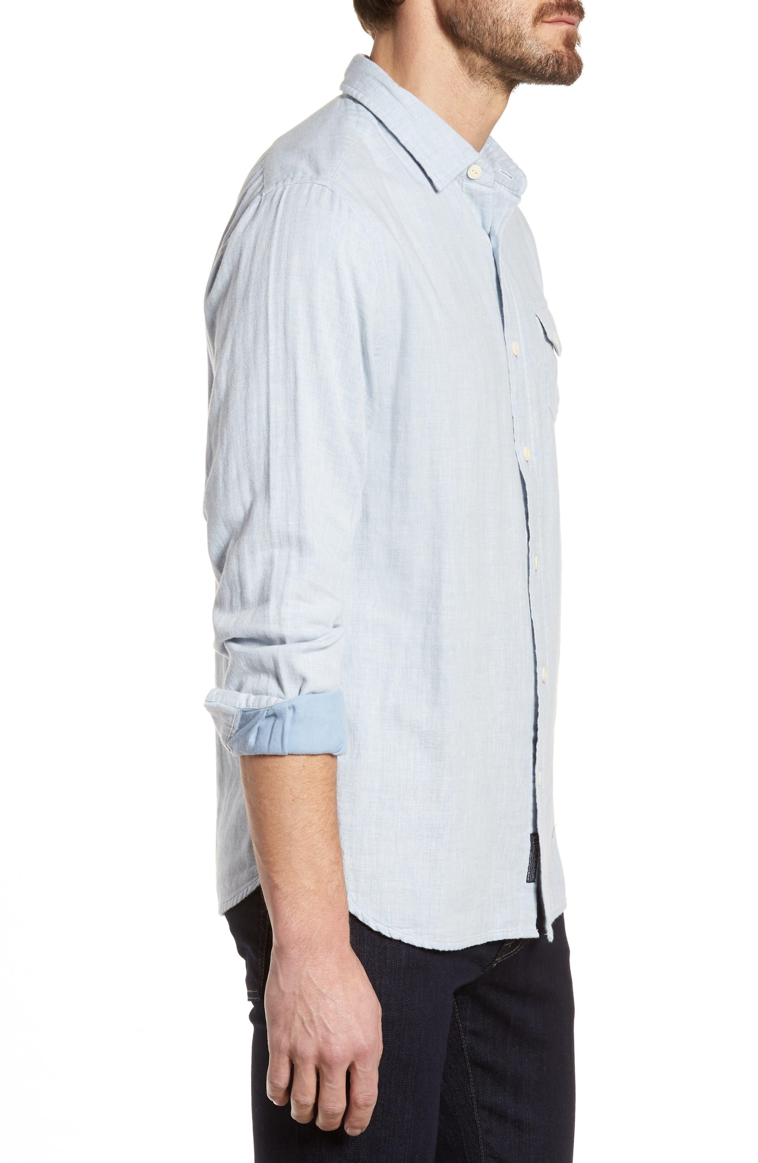 Hammond Slim Fit Sport Shirt,                             Alternate thumbnail 3, color,                             Light Blue Heather
