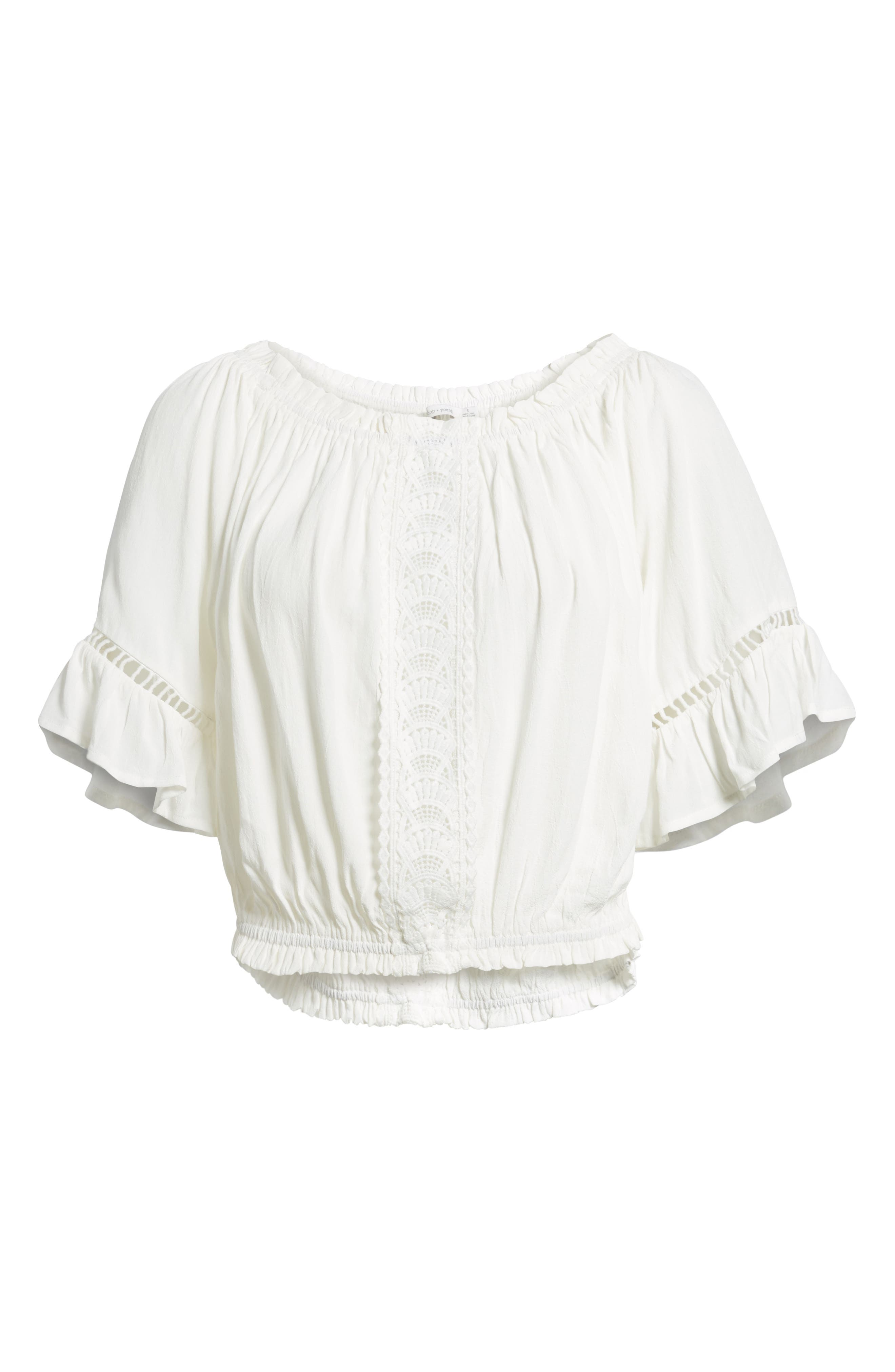 Bishop + Young Off the Shoulder Poet Top,                             Alternate thumbnail 6, color,                             White
