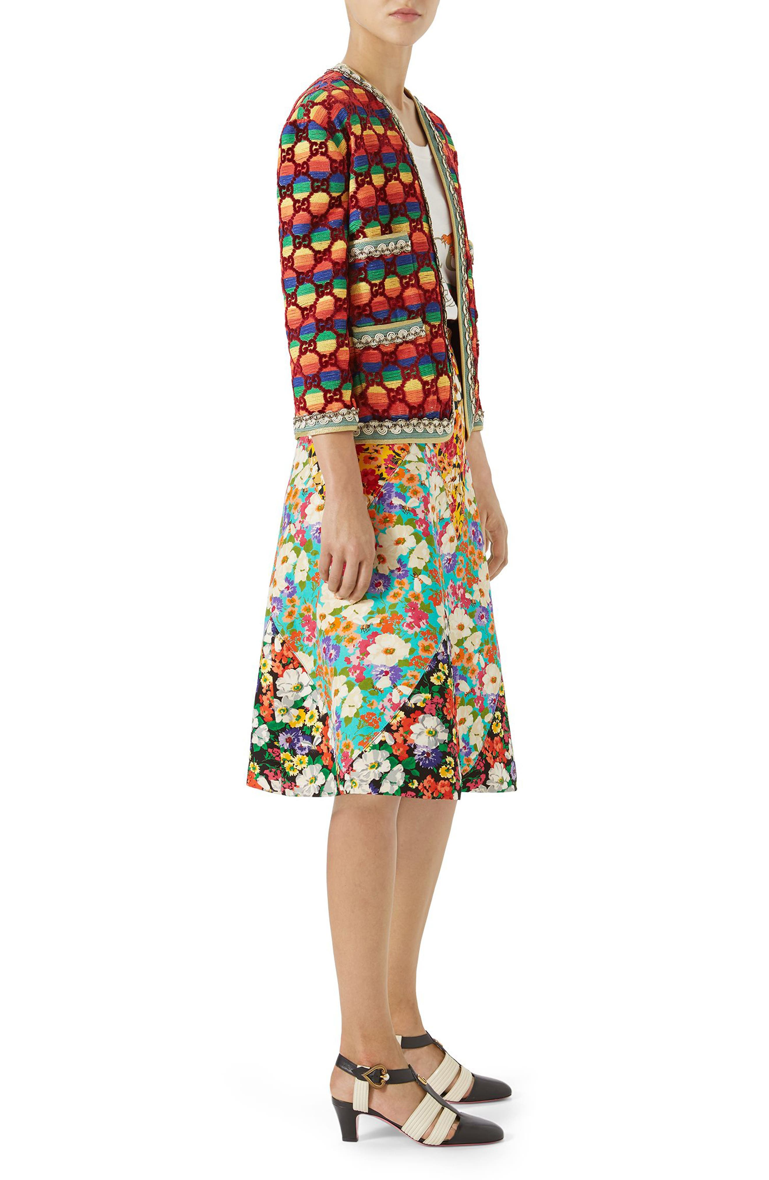 Floral Print Cady A-Line Skirt,                             Alternate thumbnail 5, color,                             Yellow-Multicolor