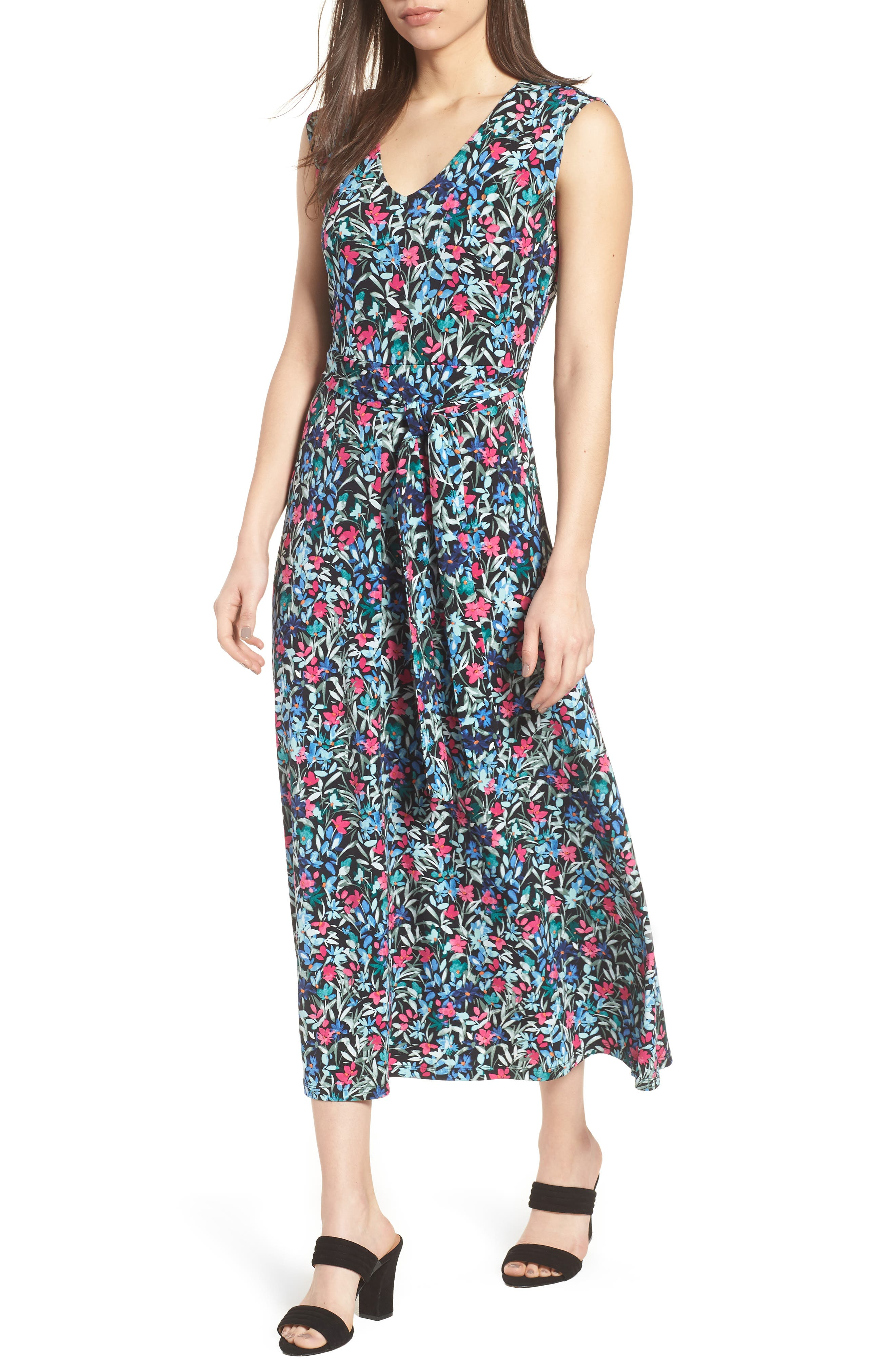 Radiant Flowers Sleeveless Tie Waist Dress,                         Main,                         color, 060-Rich Black